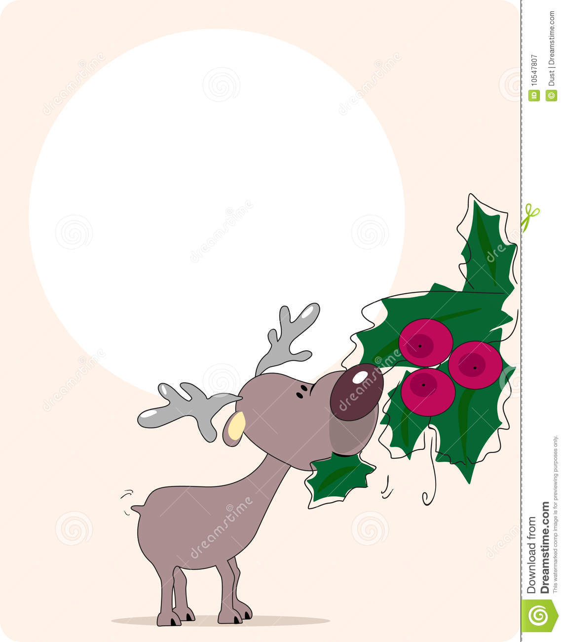 Christmas Reindeer Eat Candy Vector Illustration Royalty