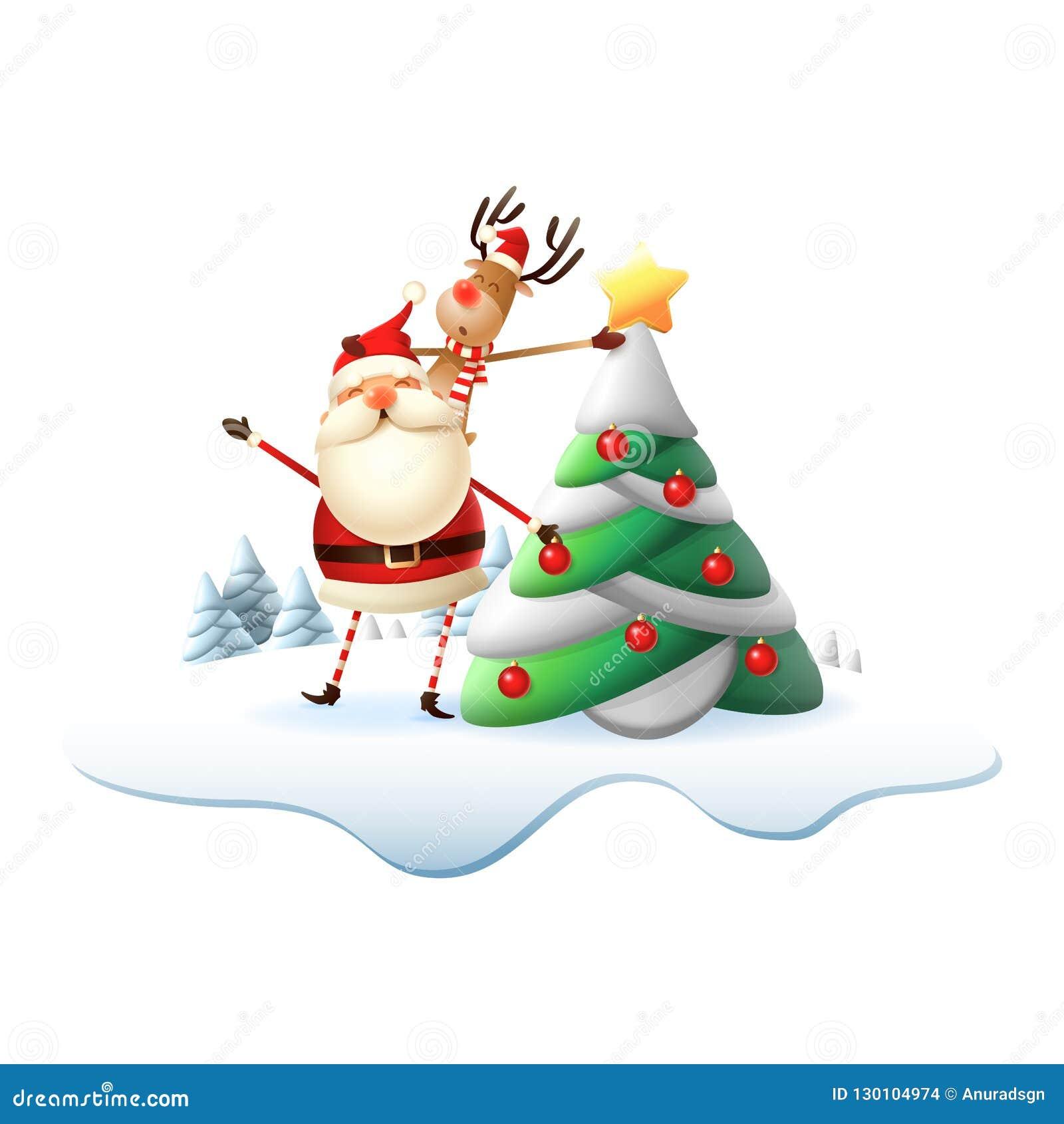 Reinder auf Santa Claus-Rückseite setzte den Stern auf Weihnachtsbaum Illustration lokalisiert auf transparentem Hintergrund