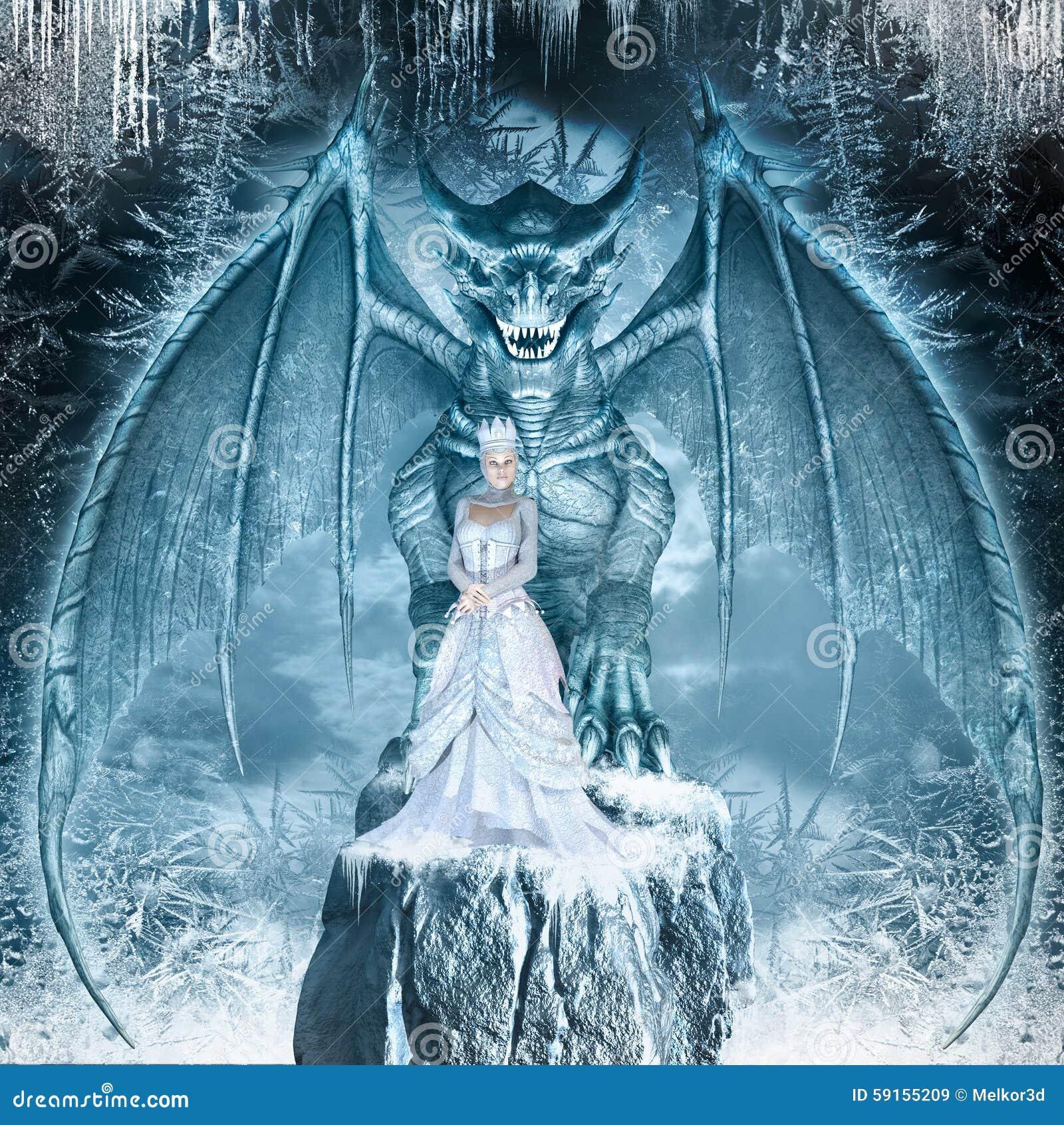 Reine de neige et dragon bleu illustration stock illustration du neige mod le 59155209 - La reine de la deco ...