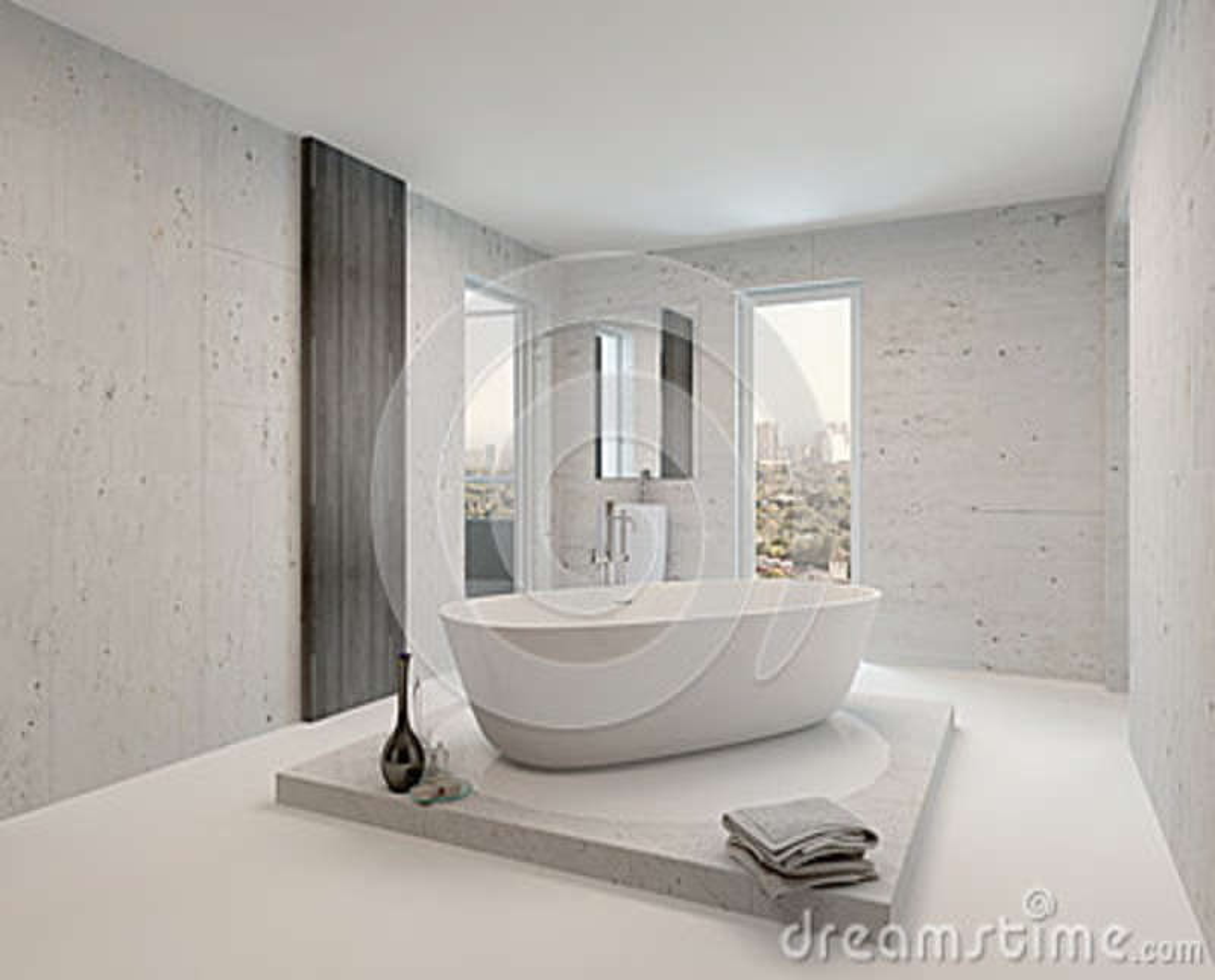Reiner sauberer weißer Badezimmerinnenraum mit Badewanne