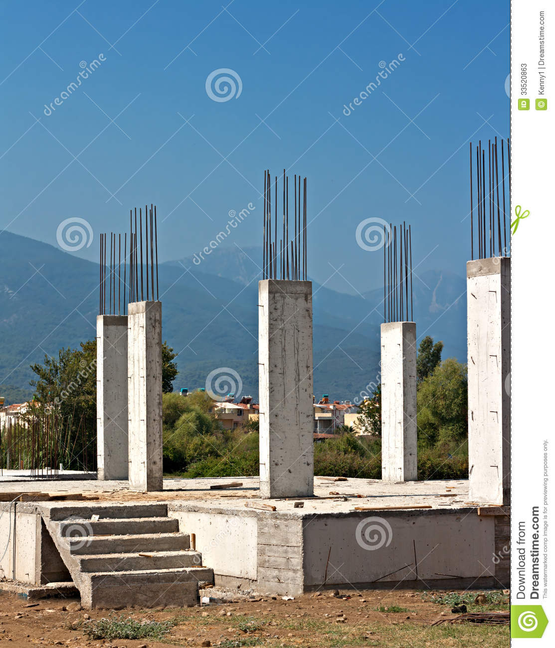 Reinforced concrete pillars on building site stock photos for How to build a house on pillars