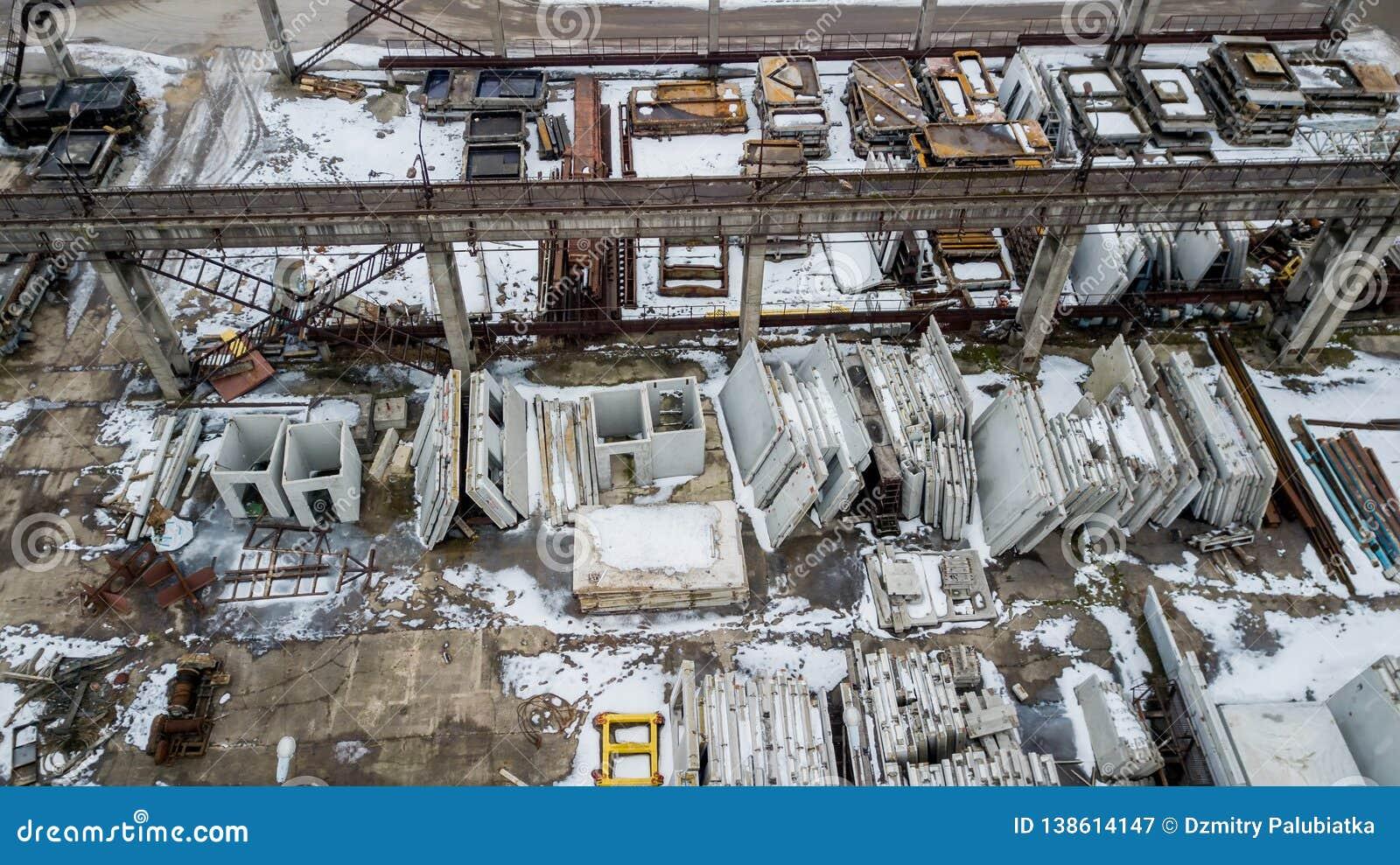 Reinforced concrete structures in an industrial enterprise. Aerial survey