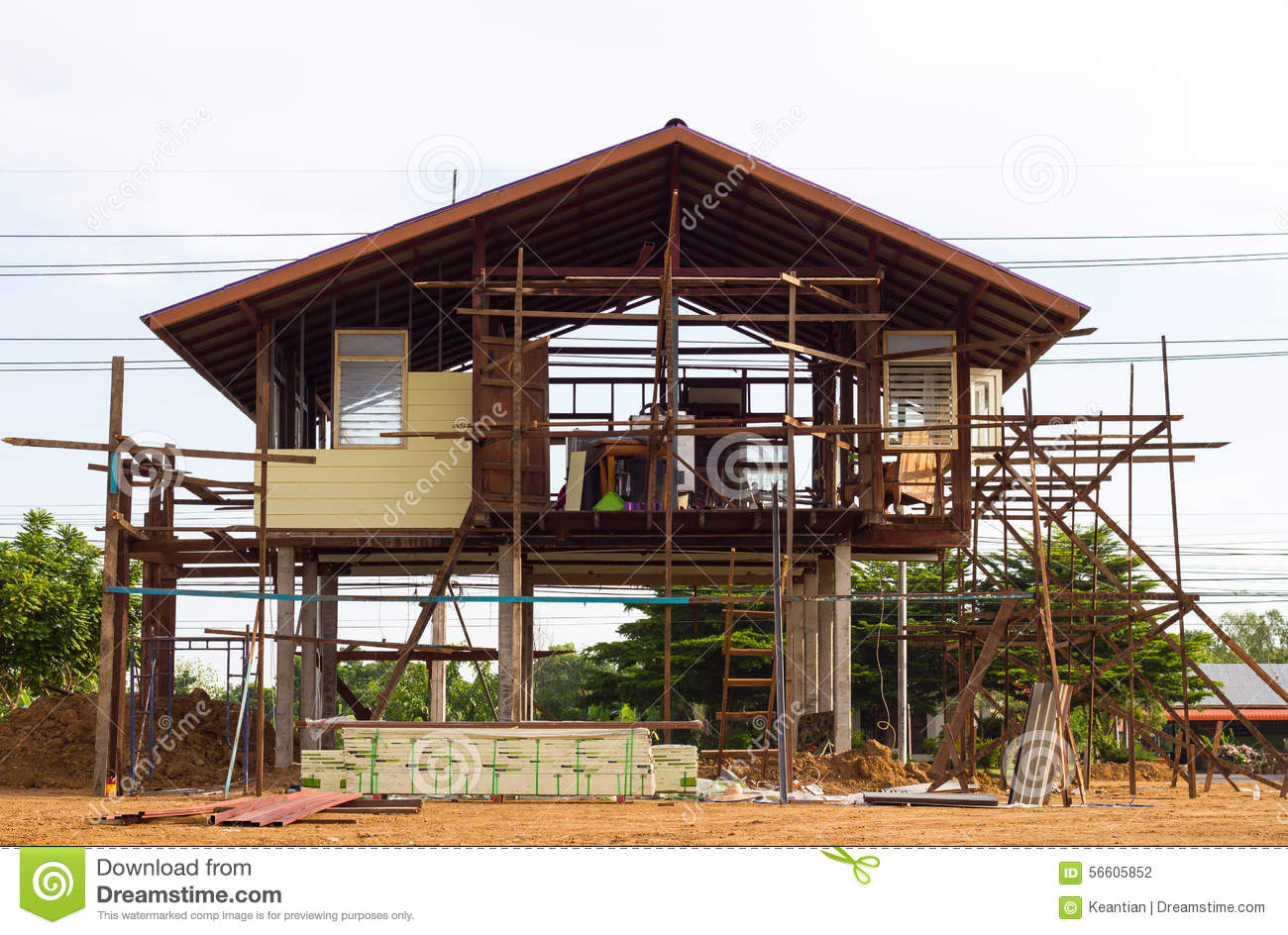 Wood And Steel Structure : Reinforced steel structure houses stock photo image