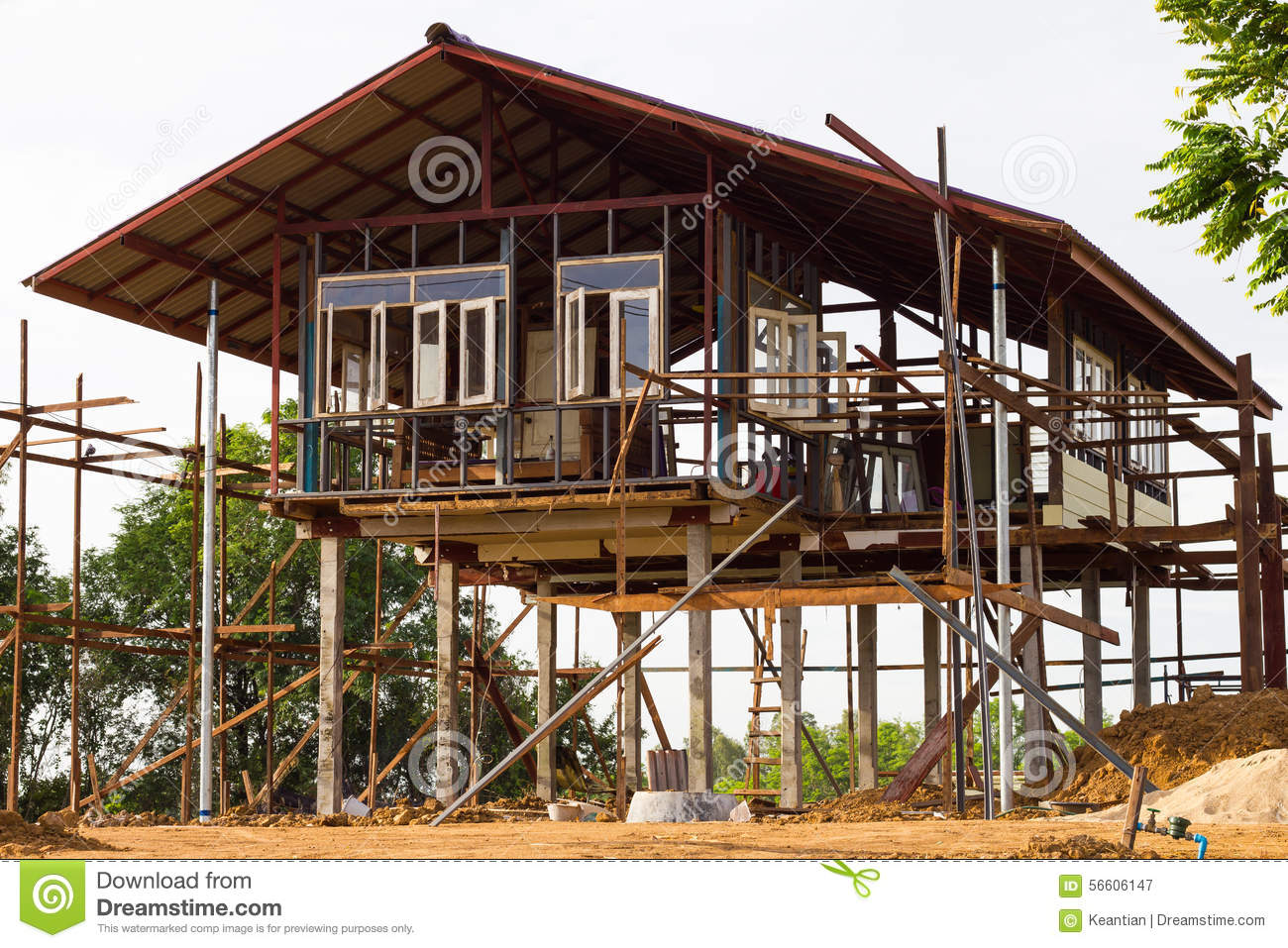 Reinforced steel structure houses stock image image of for Raised home