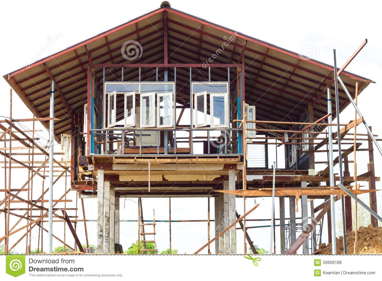 Reinforced steel structure houses stock photo image for Wood house plan
