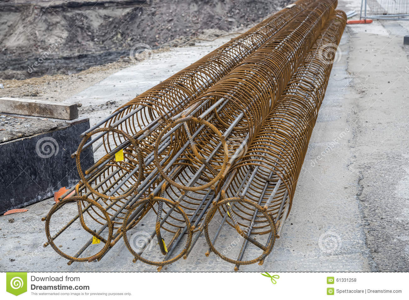 Reinforcement Cages For A Foundation Piles Stock Photo