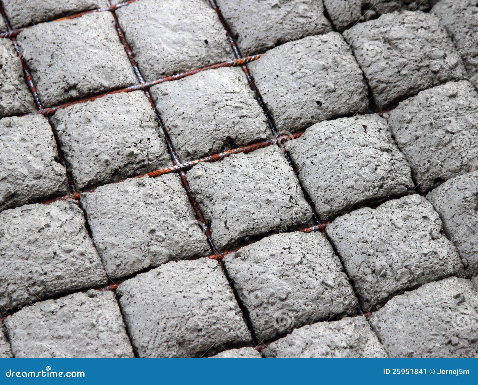 Precast Concrete Curb Reinforcement : Reinforcing mesh in concrete stock image