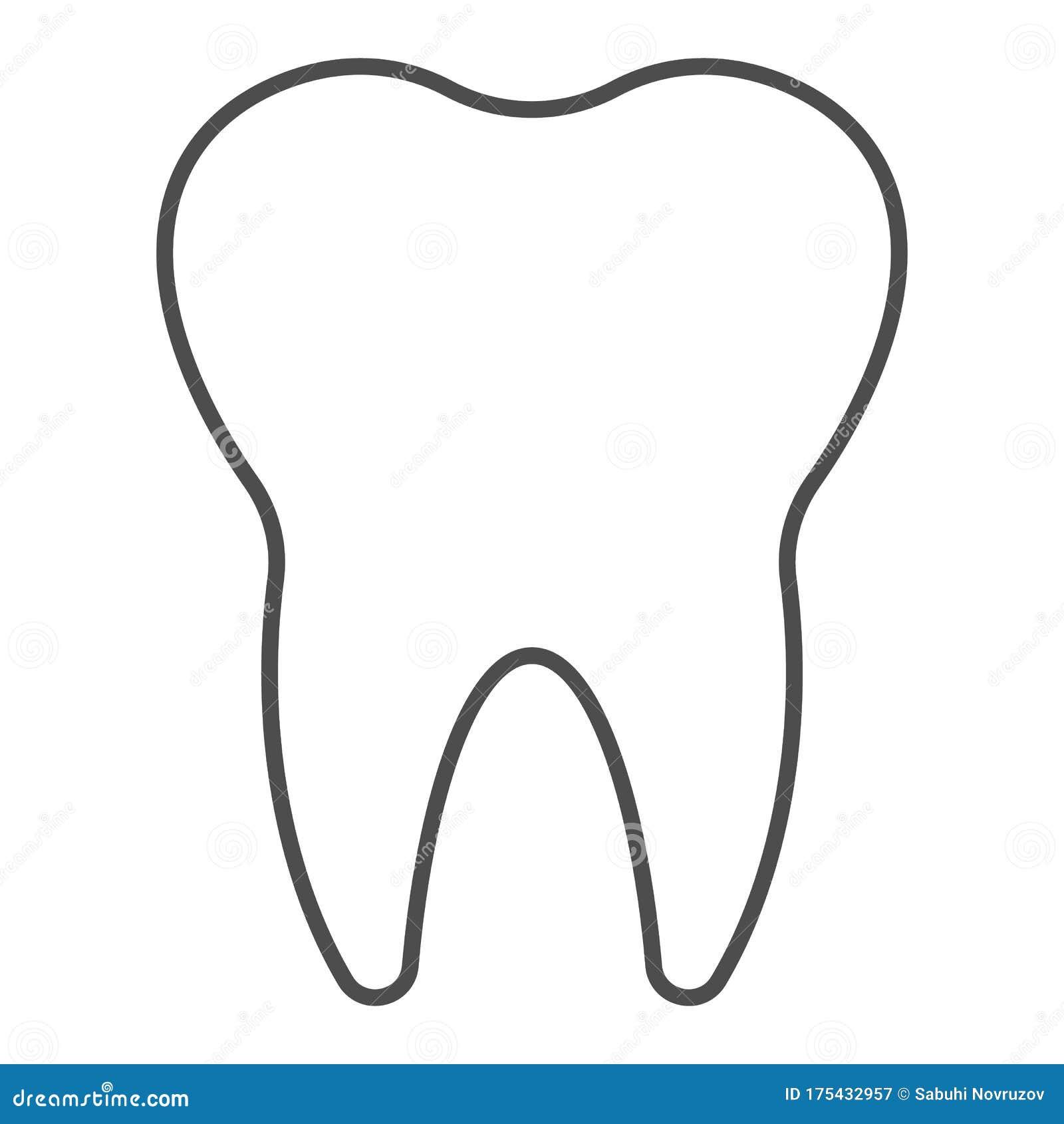 reinigen sie einen zahn mit einem dünnen strichsymbol