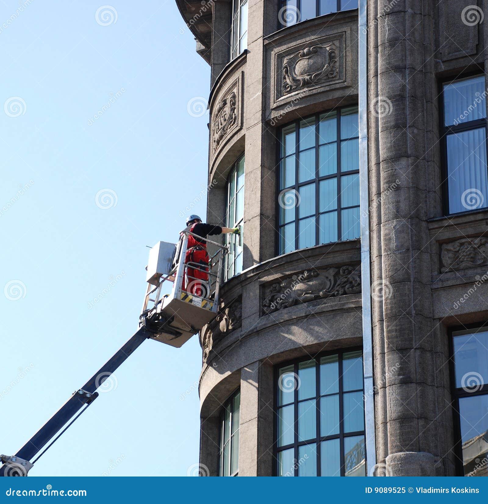 Reinigung der Fenster.