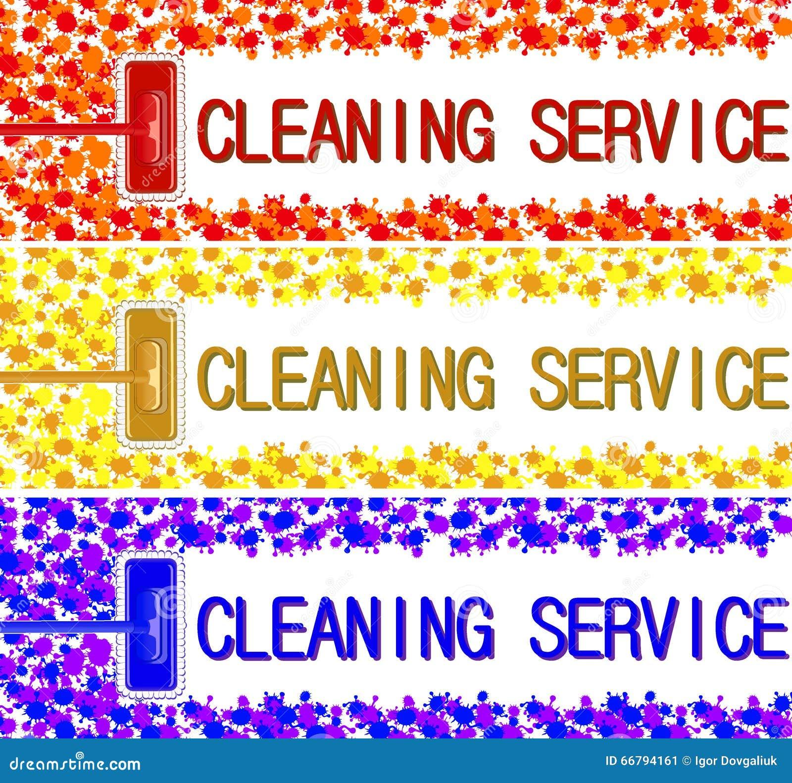 Reinigungsdienstleistungsunternehmenfahne Vektorillustration 2