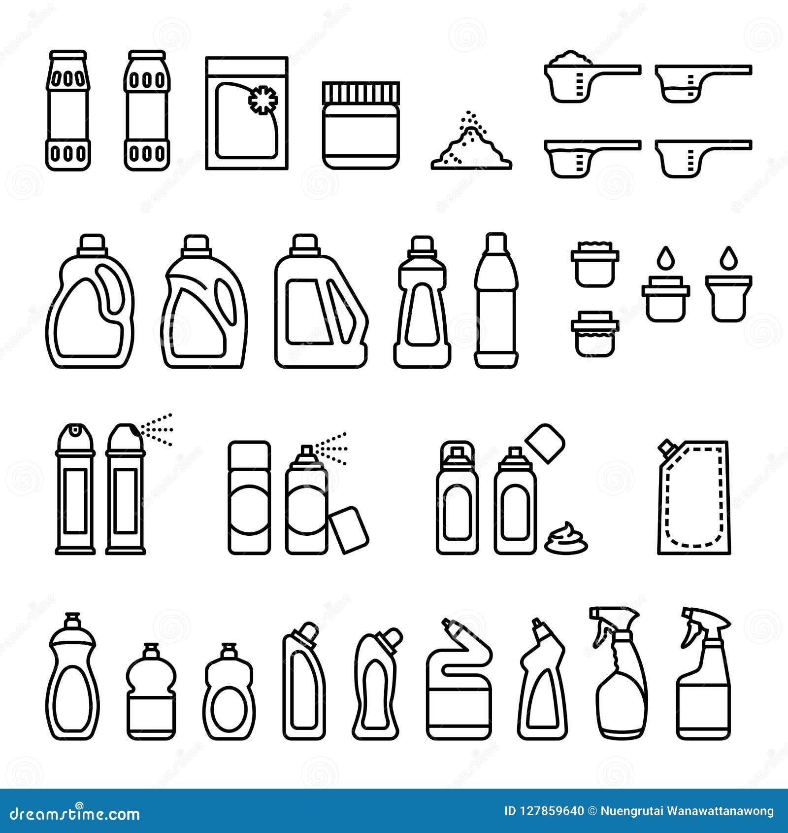 Reinigungsmittel Chemikalien für Reinigungs- und Desinfektionsflaschenikonen