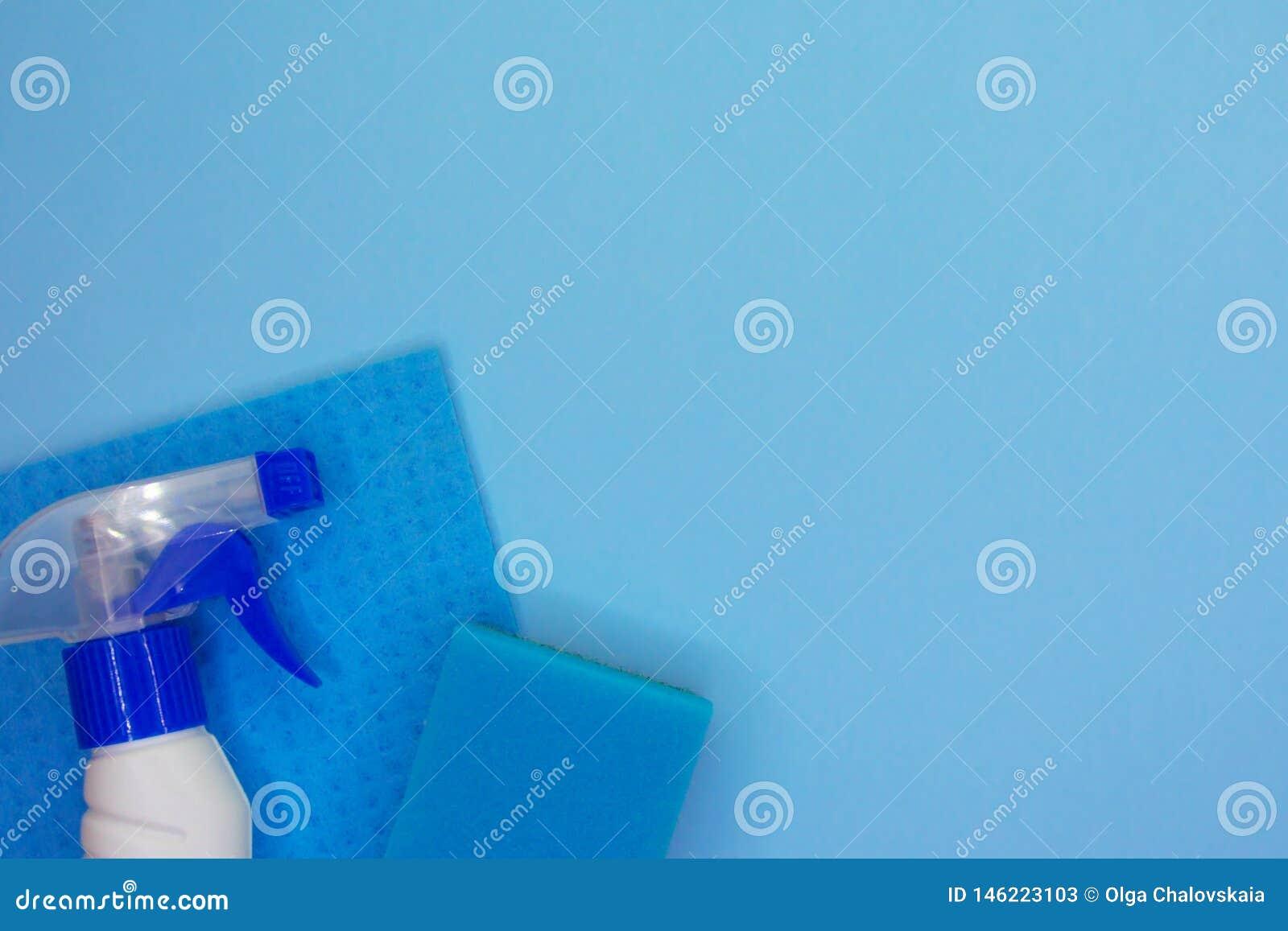 Reinigungsmittel und Reinigungszus?tze in der blauen Farbe Reinigungsservice, Kleinbetriebidee