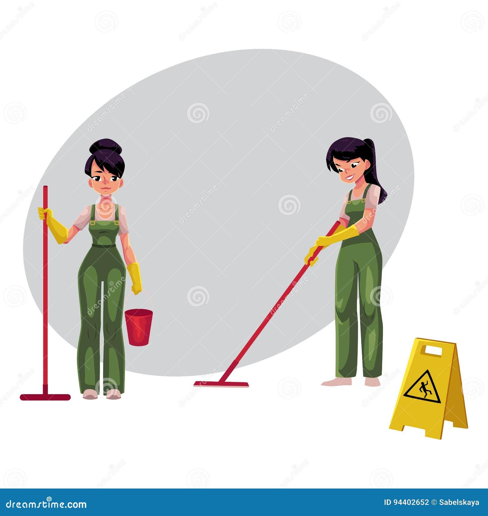 reinigungsservice m dchen putzfrauen im overall der boden warnzeichen w scht vektor abbildung. Black Bedroom Furniture Sets. Home Design Ideas