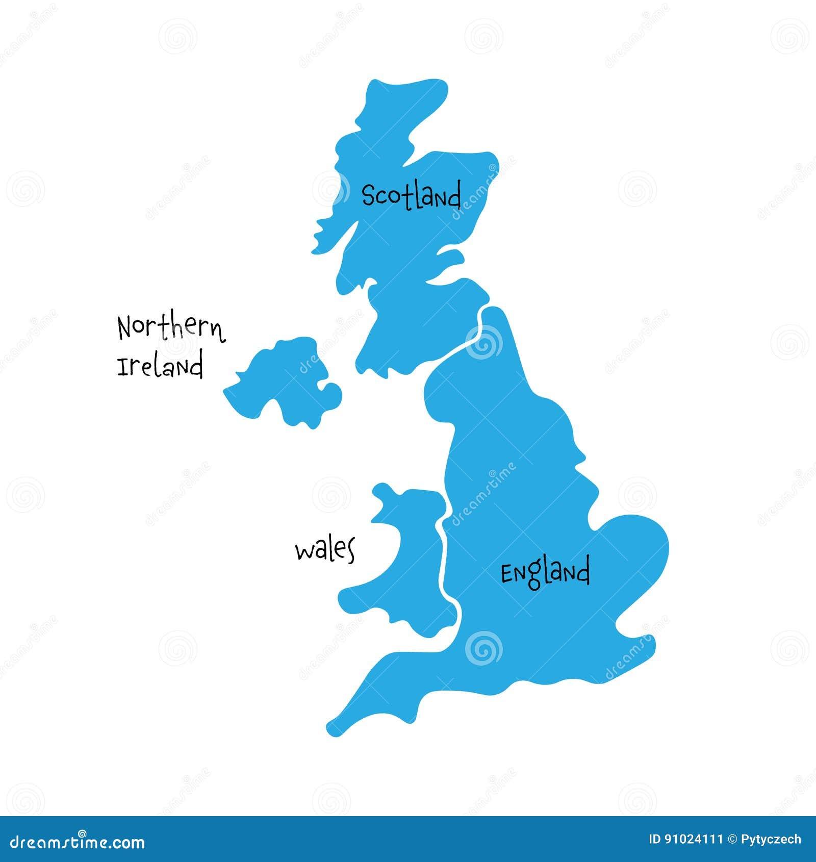 Reino Unido, aka Reino Unido, del mapa en blanco a mano de Gran Bretaña y de Irlanda del Norte Dividido a cuatro países - Inglate