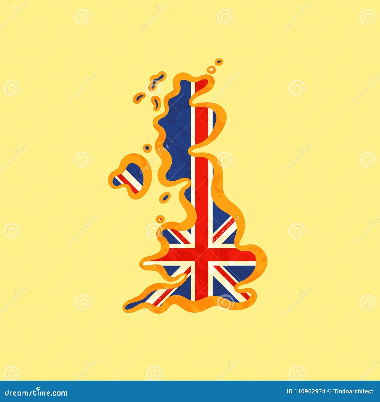 Reino Unido - Mapa Coloreado Con La Bandera Británica Ilustración ...