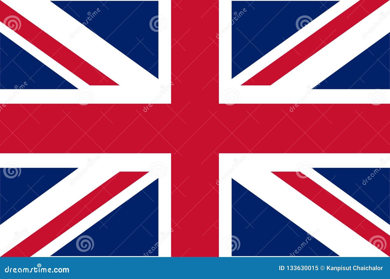 Reino Unido Union Jack Bandeira de Reino Unido Cores oficiais Proporção correta Ilustração do vetor A bandeira britânica está voa