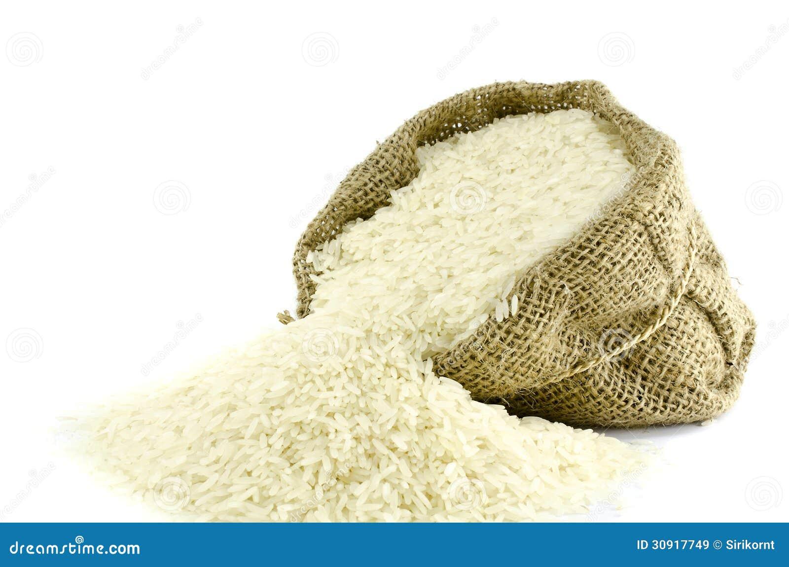 Reis in der Juteleinwandtasche