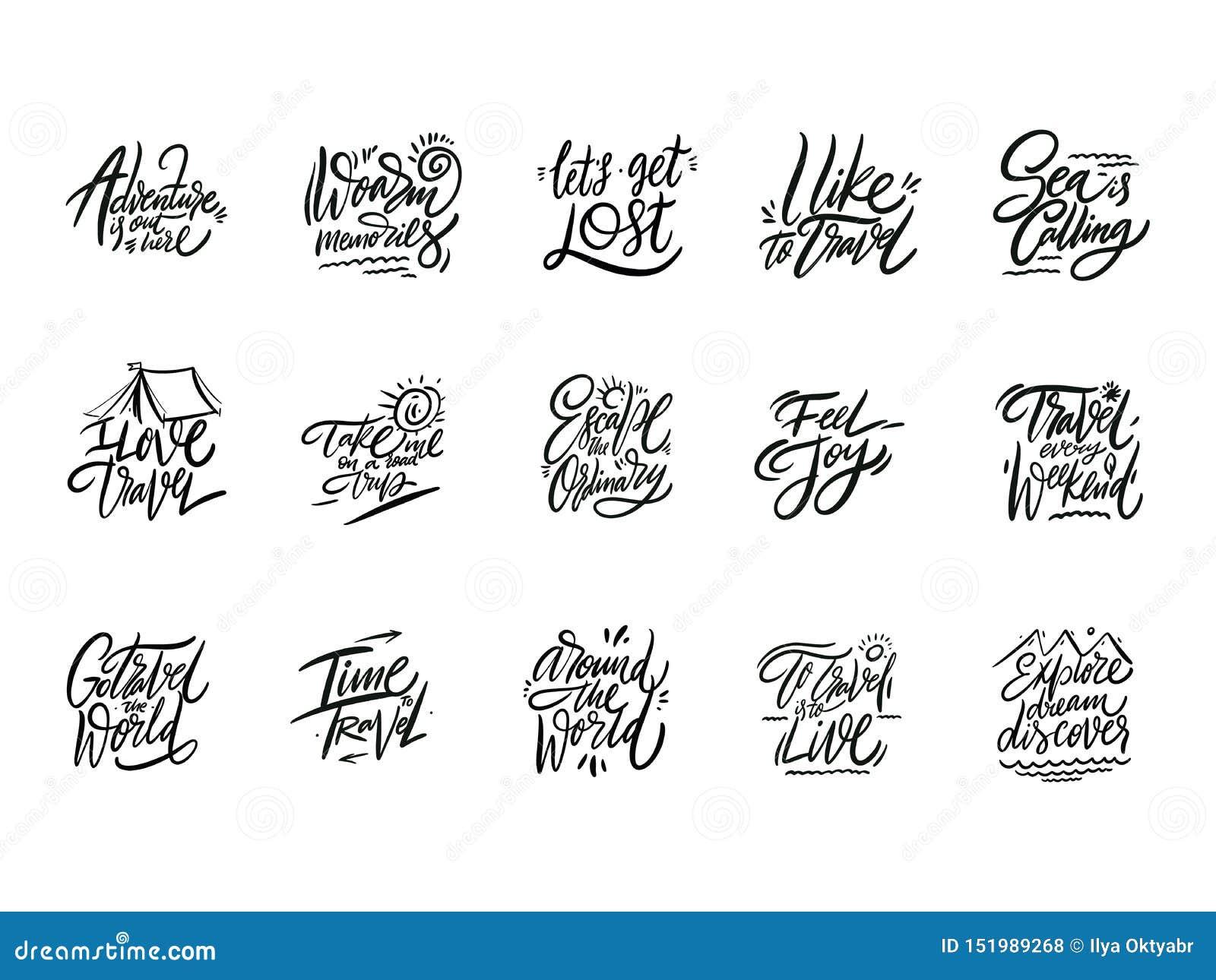 Reis en Avonturen het van letters voorzien reeks 04 Hand getrokken vectorillustratie Motievencitaat en uitdrukking