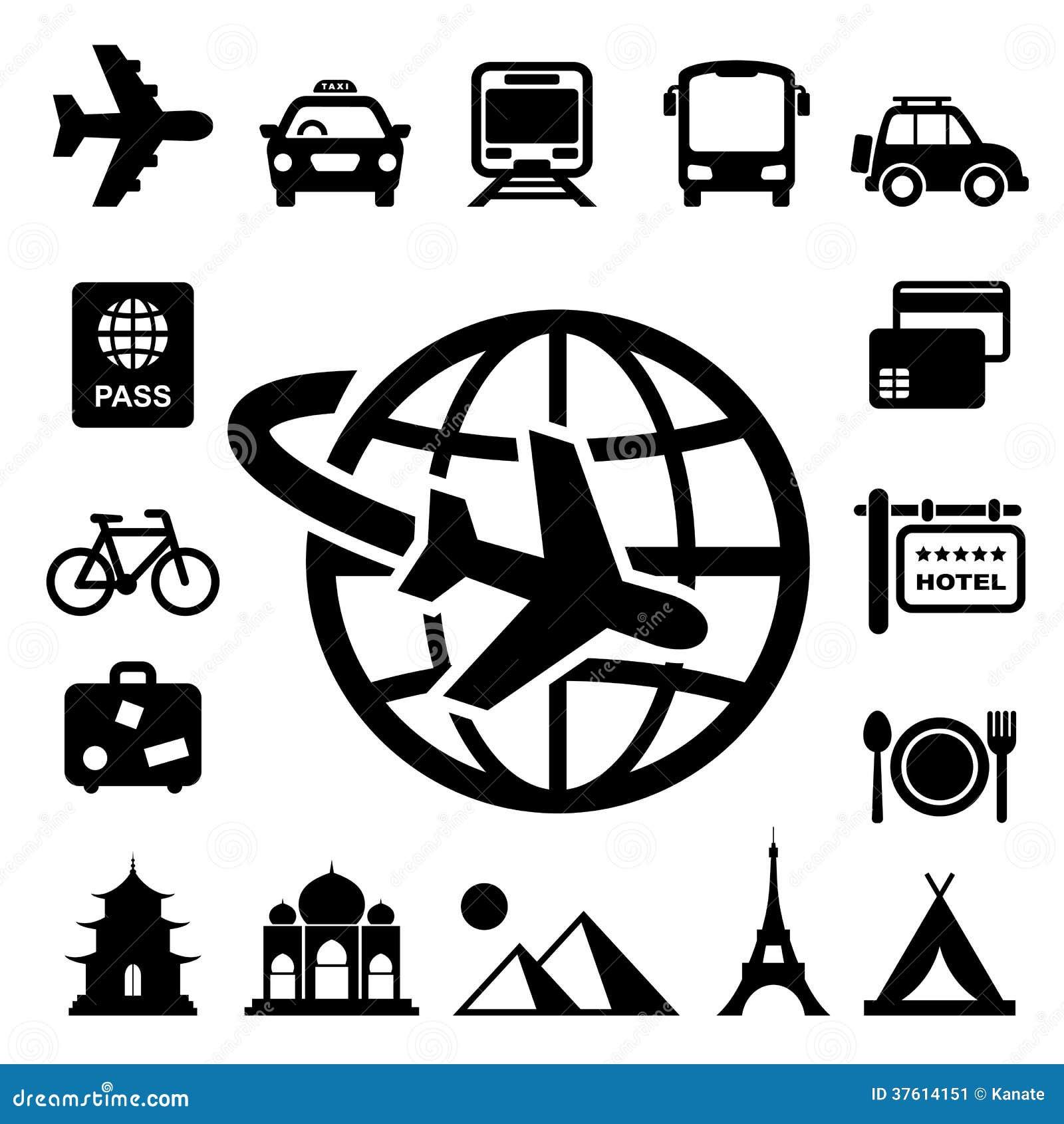 Reis en vakantie geplaatste Pictogrammen
