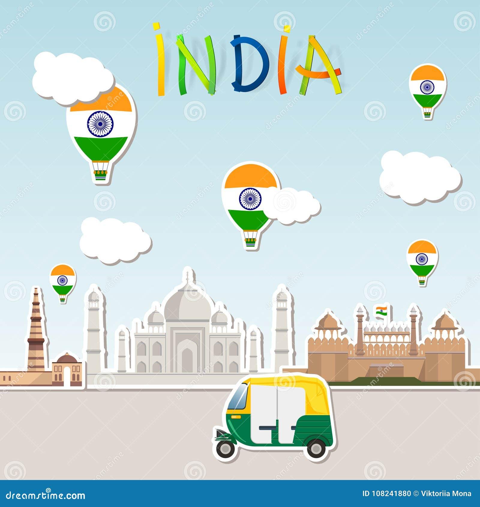 Reise Aufkleber Tuk Tuk Wolken Und Beschriften Indien