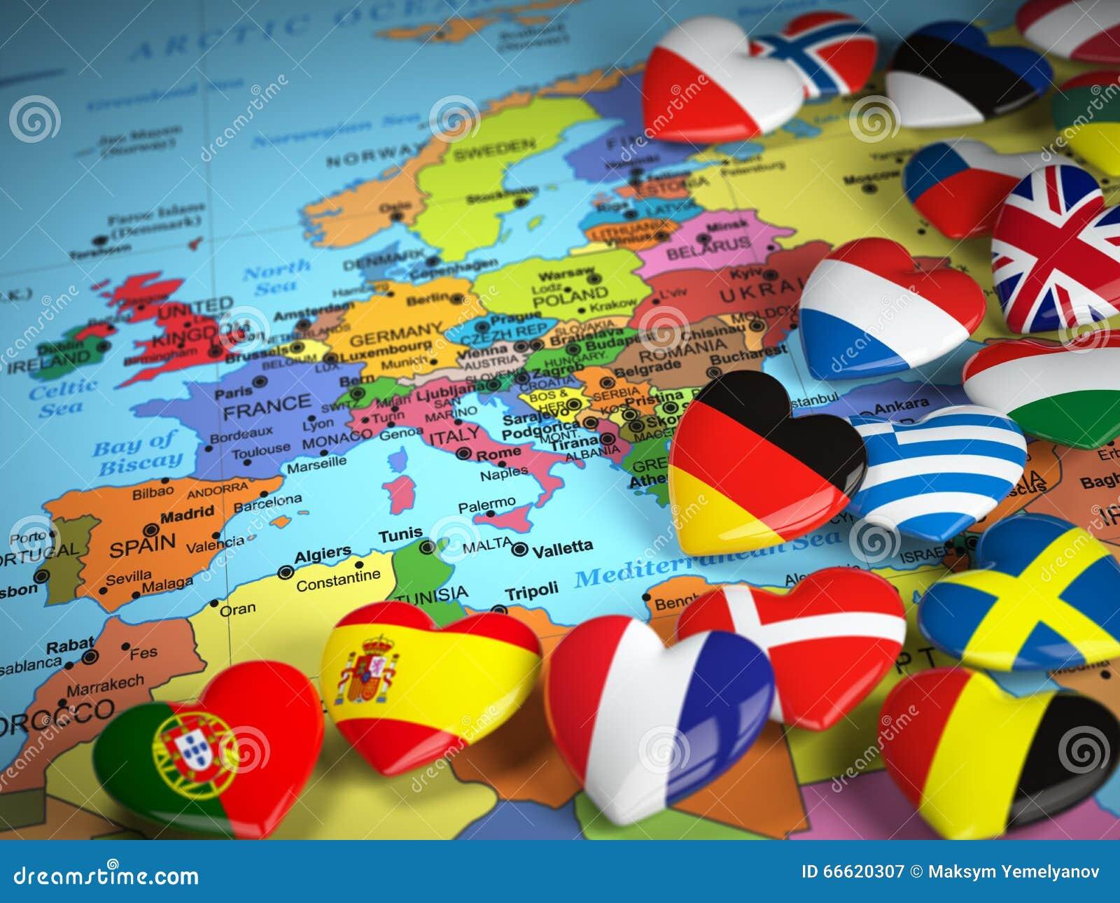 reise eu konzept karte von europa und von herzen mit flaggen von europa stock abbildung bild. Black Bedroom Furniture Sets. Home Design Ideas