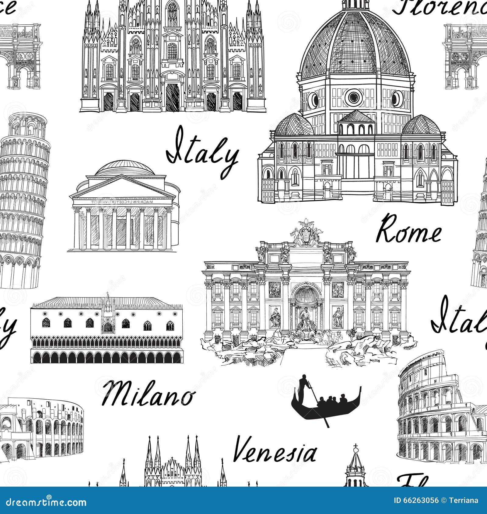 Reise Europa Hintergrund Nahtloses Muster Beruhmten Marksteins Italiens Stock Abbildung Illustration Von Beruhmten Italiens 66263056