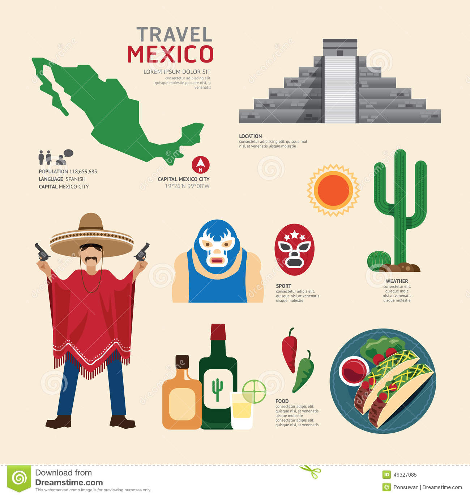 Reise-Konzept-Mexiko-Markstein-flaches Ikonen-Design Vektor