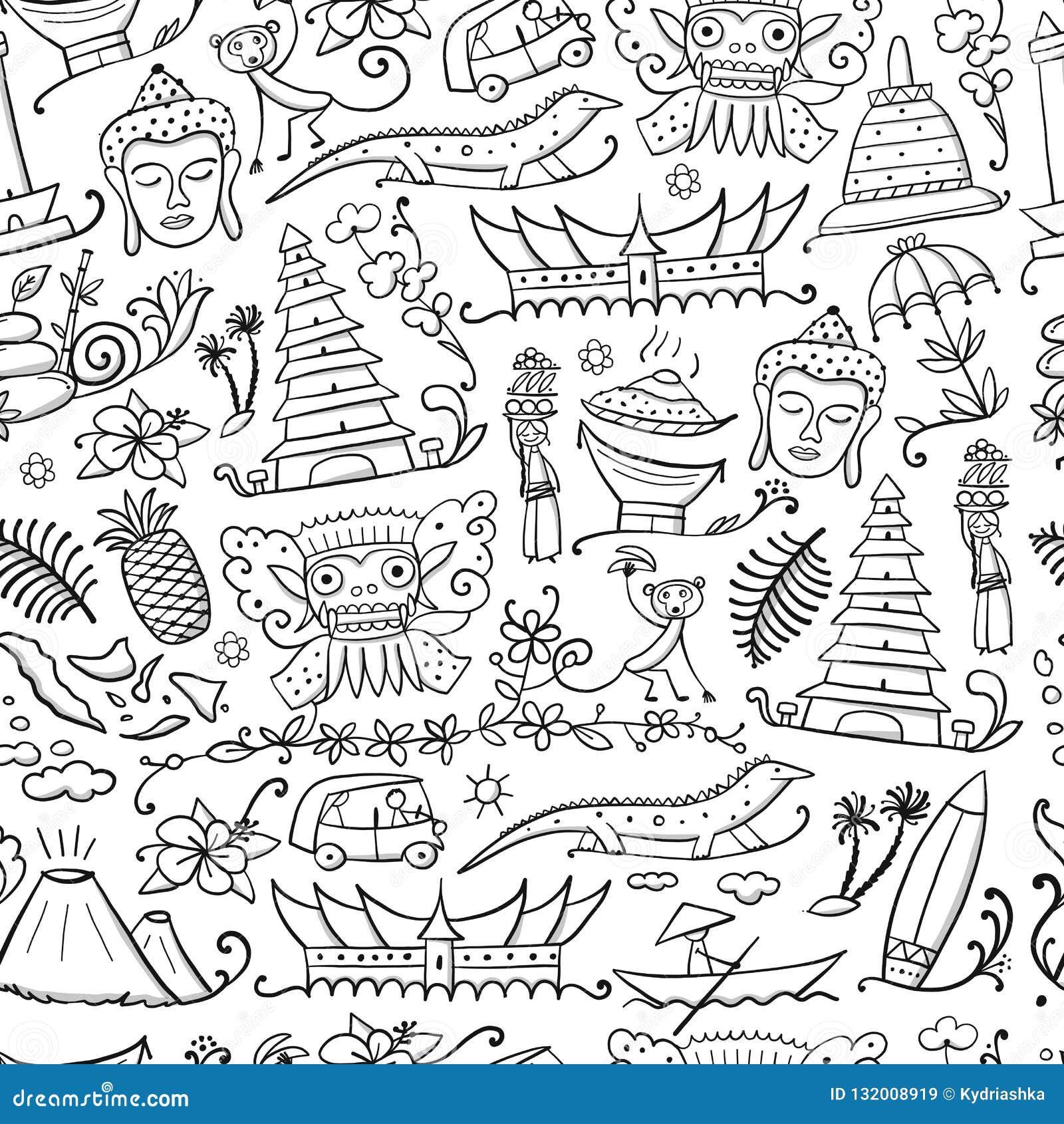 Reise nach Indonesien Nahtloses Muster für Ihre Auslegung