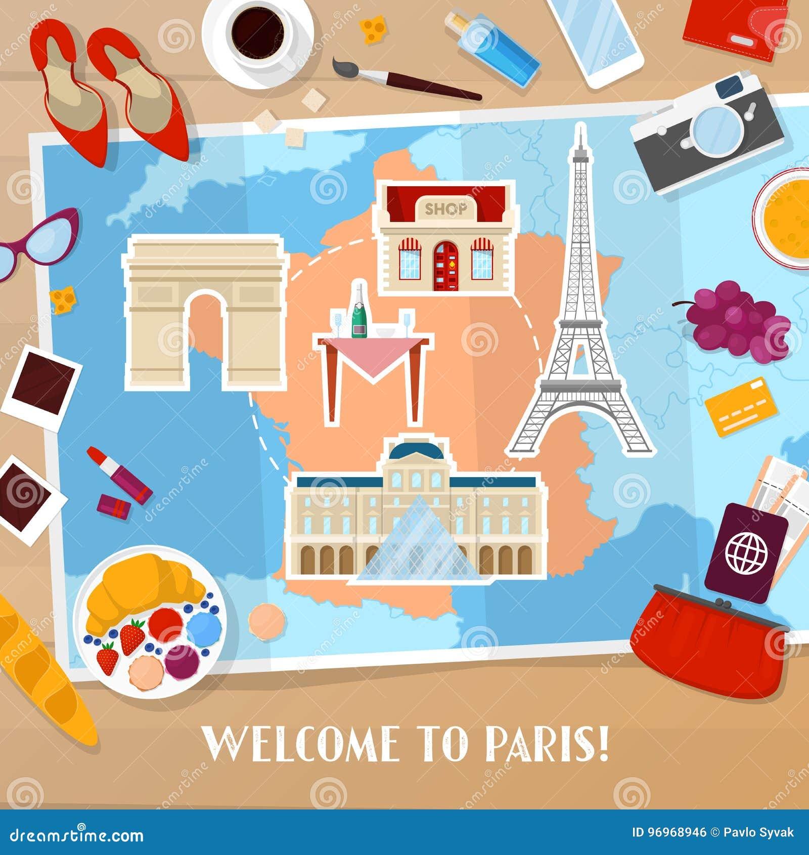 Reise Nach Paris Frankreich Tourismus Und Ferien Hintergrund Mit Karte Architektur Und Reisenden Ikonen Vektor Abbildung Illustration Von Paris Karte 96968946