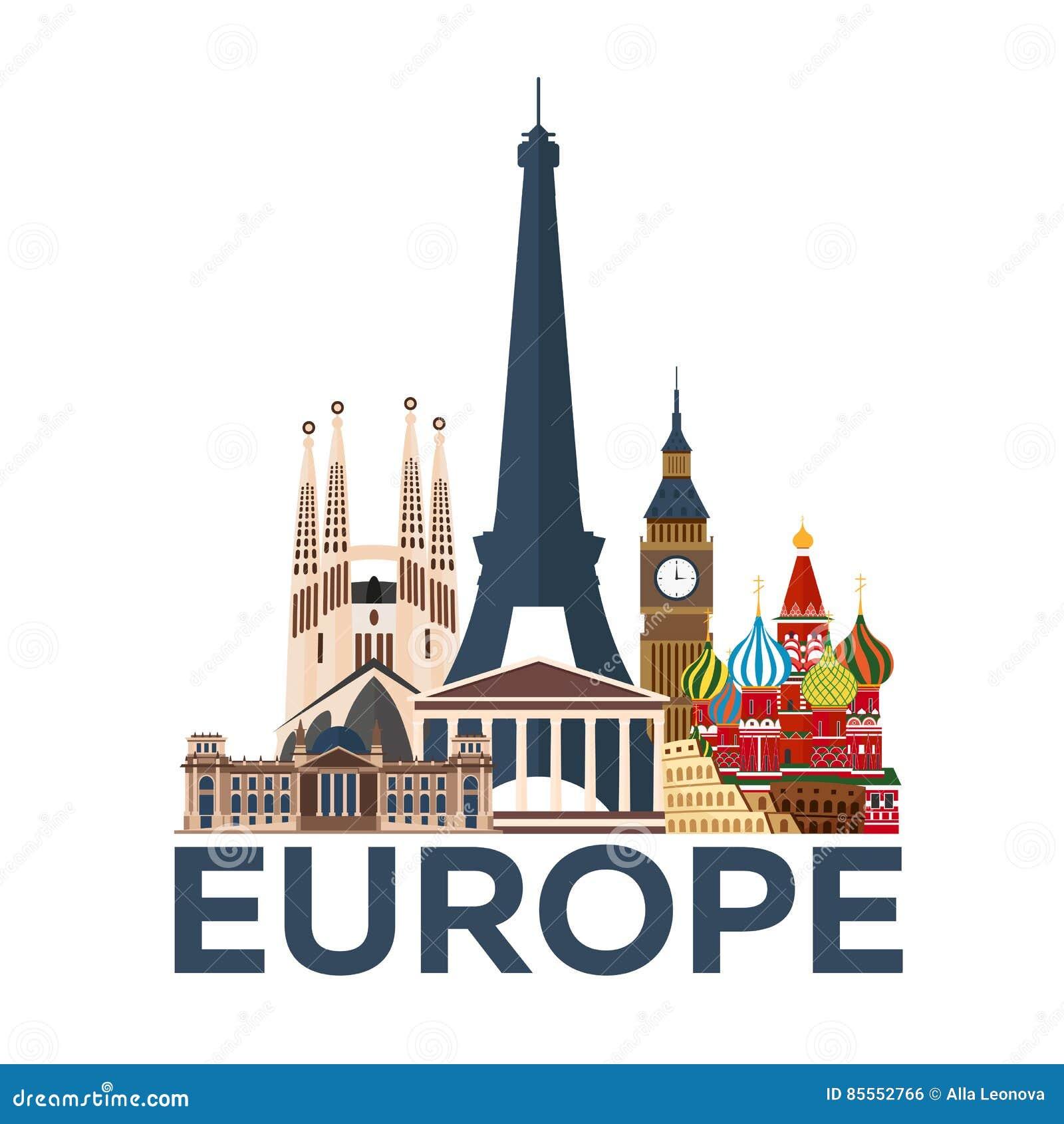 Reise-Plakat europa ferien Reise zum Land Reisende Illustration Moderne Ebene