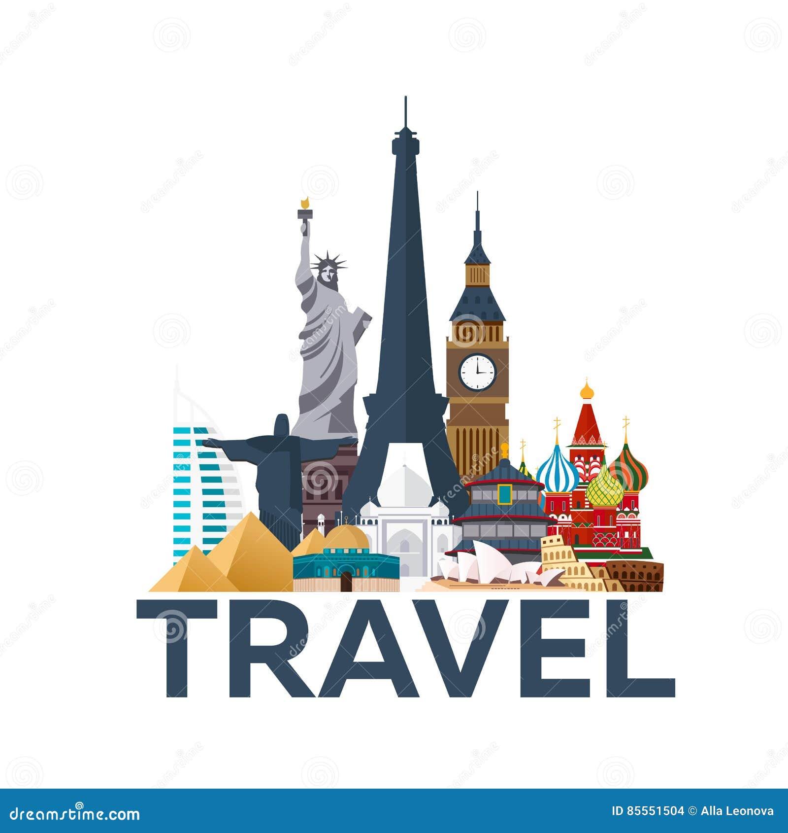 Reise-Plakat Um die Welt ferien Reise zum Land Reisende Illustration Moderne Ebene