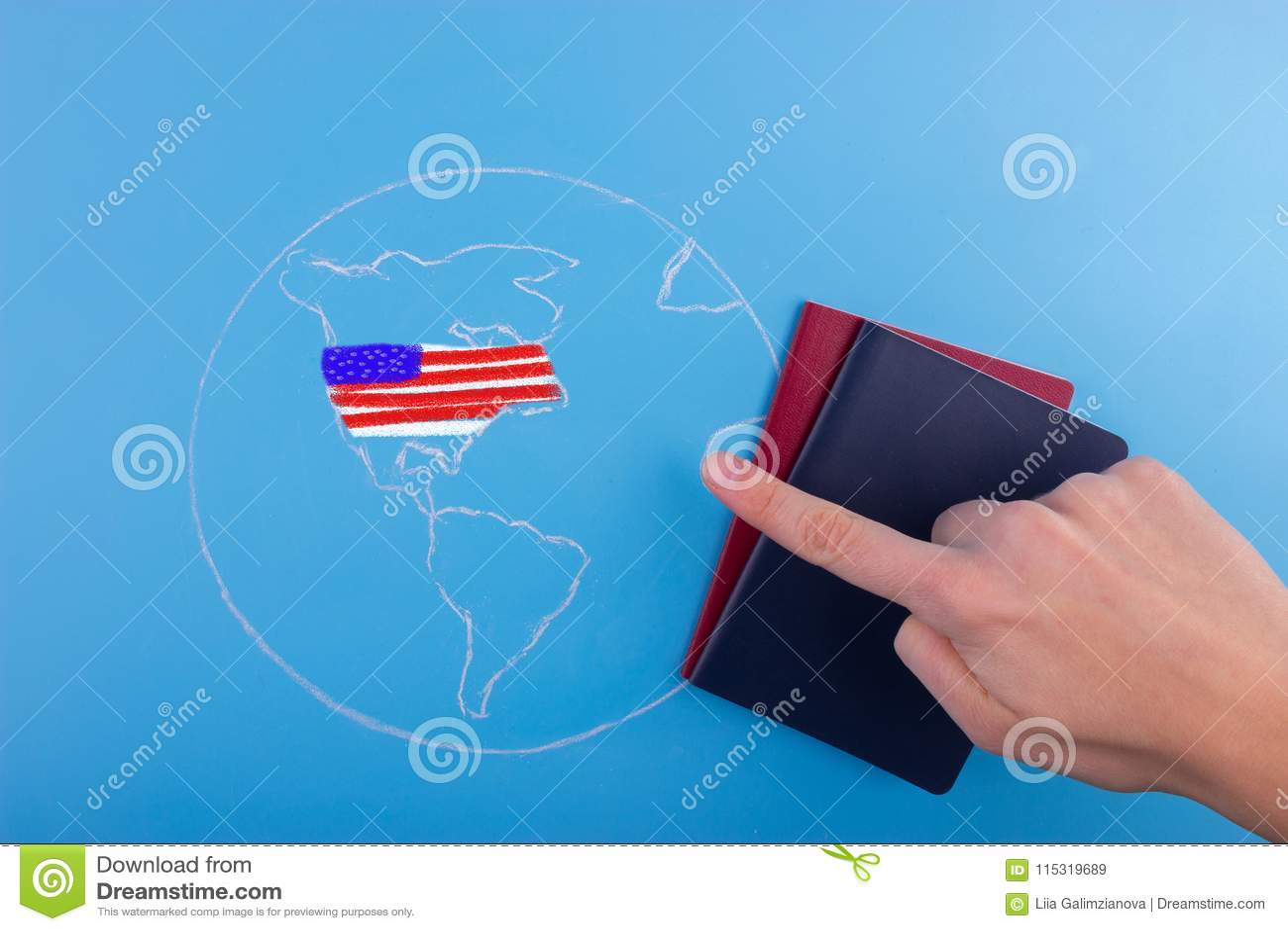 Reise zu USA-Konzept