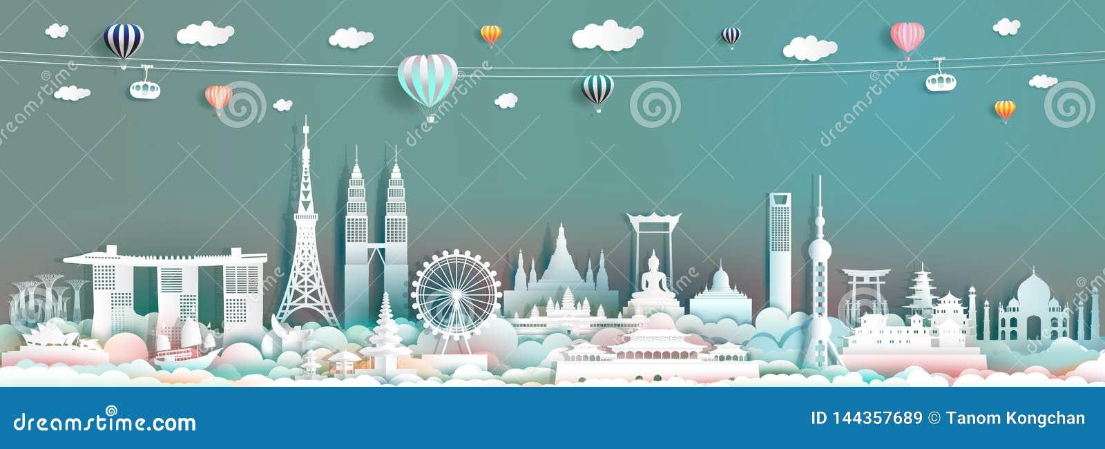 Reisemarkstein Asien mit im Stadtzentrum gelegenen Stadtbildskylinen und asean-Tourismus