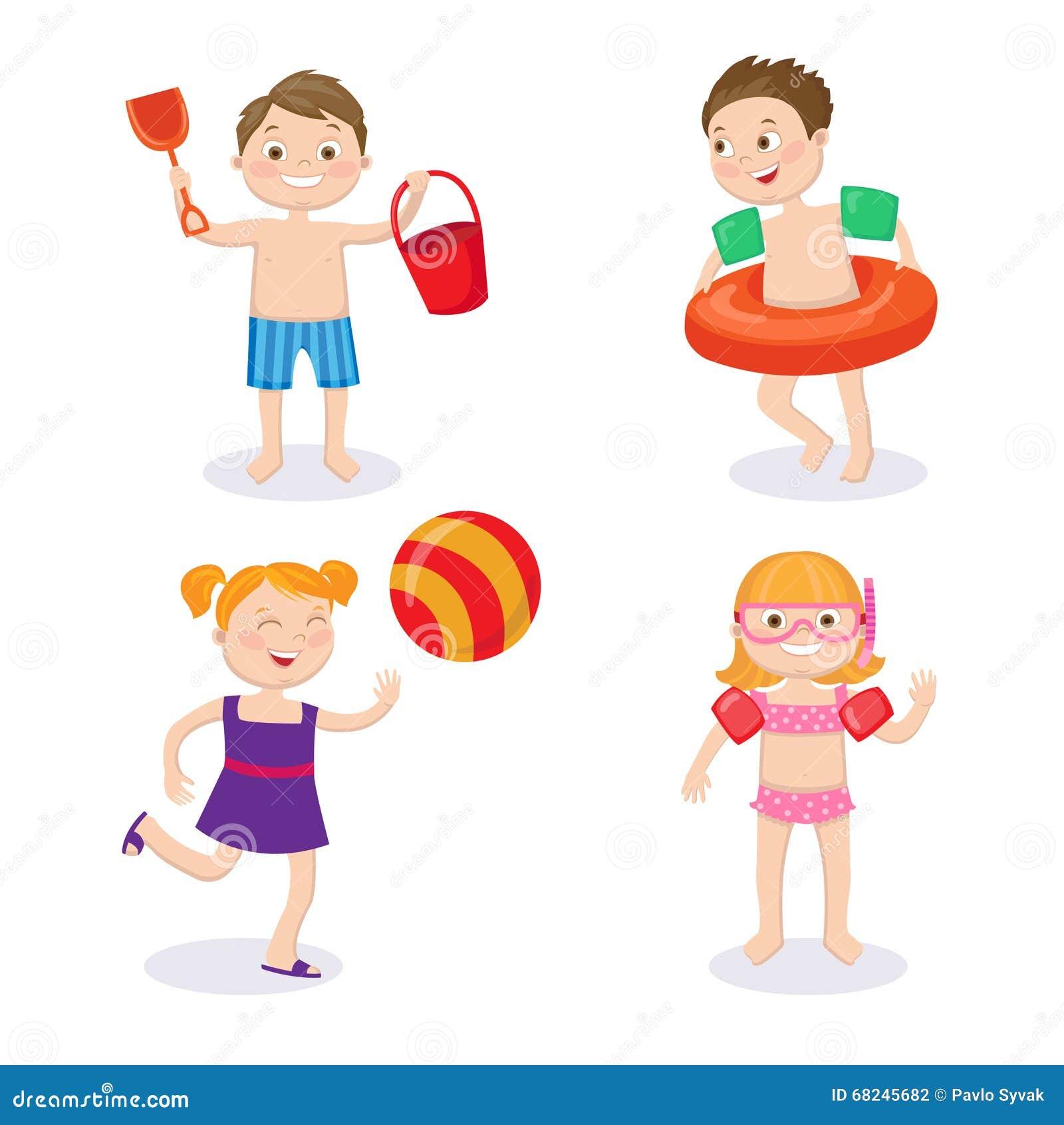 Reisenkoffer mit Meerblick nach innen Glückliche Kinder, welche die Badeanzüge haben Spaß tragen