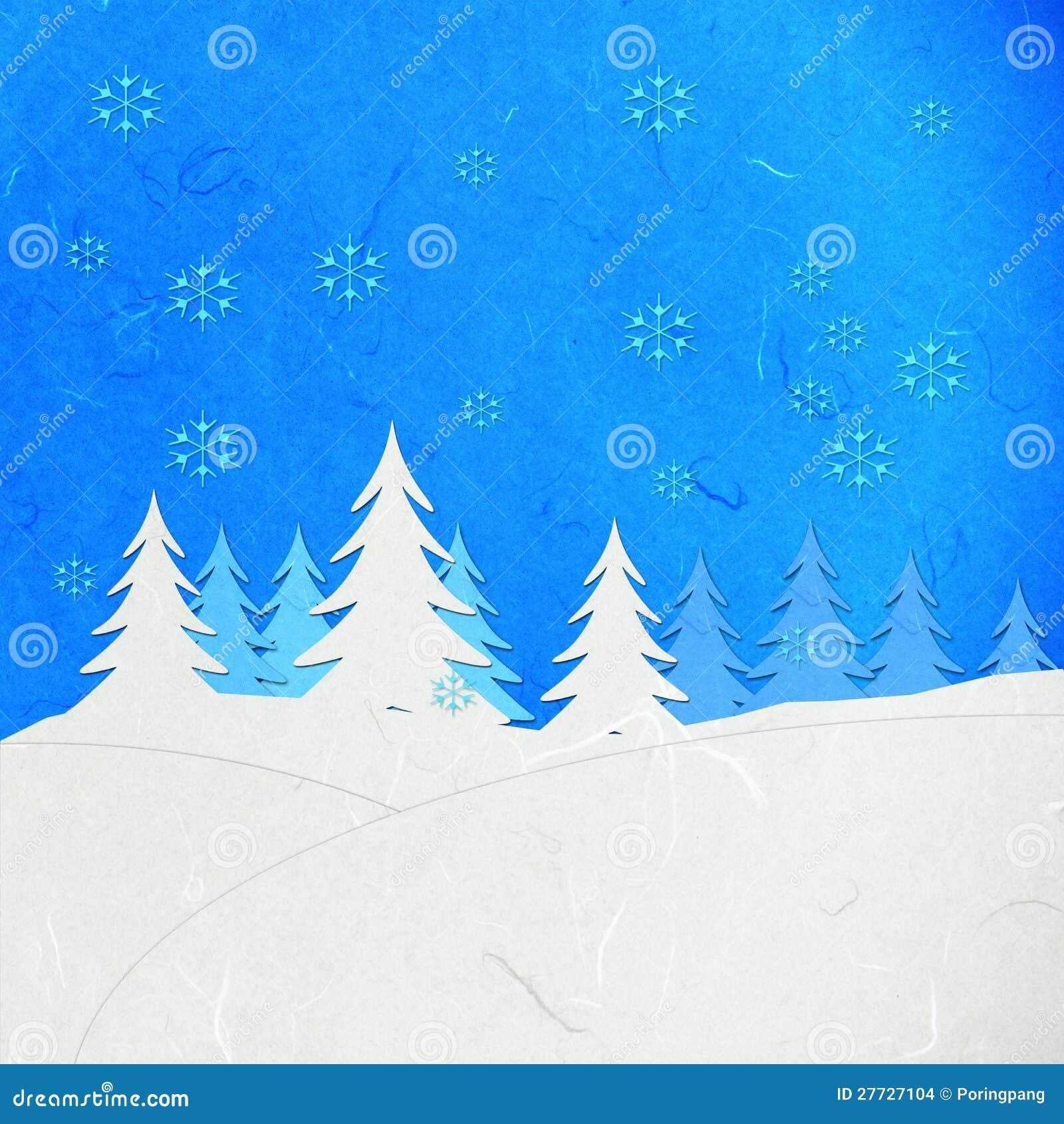 Reispapier-Schnitwinterlandschaft mit Schnee