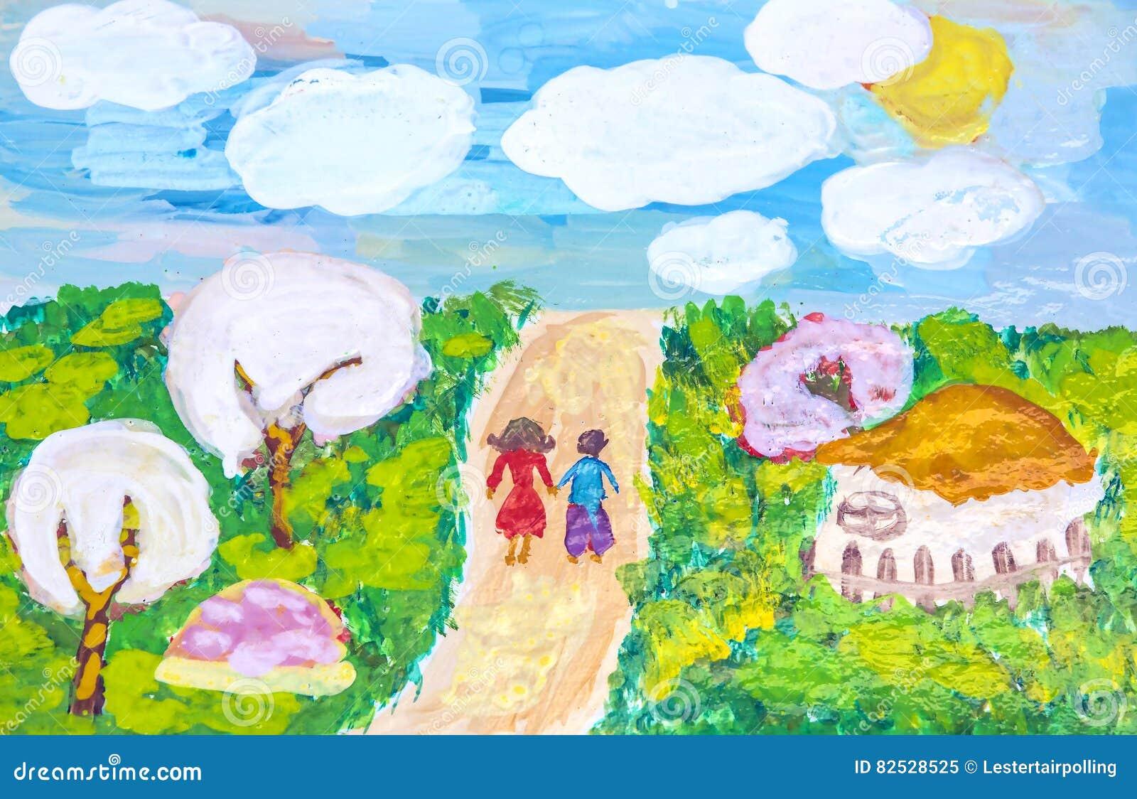 Reizen voor groepen kinderentekeningen van stad Kharkiv