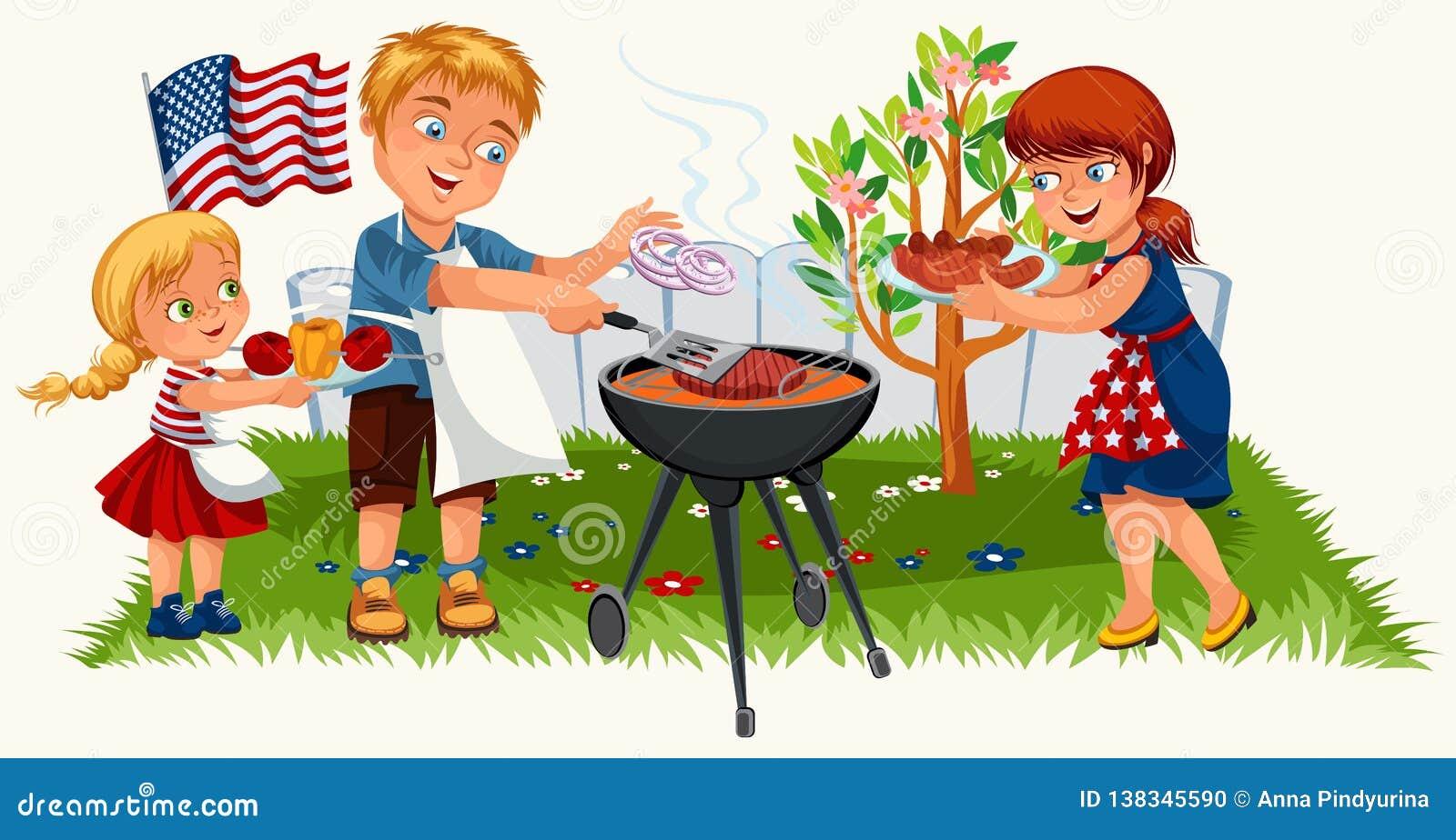 Reizende freundliche Familie, die nettes Picknick im Garten hat
