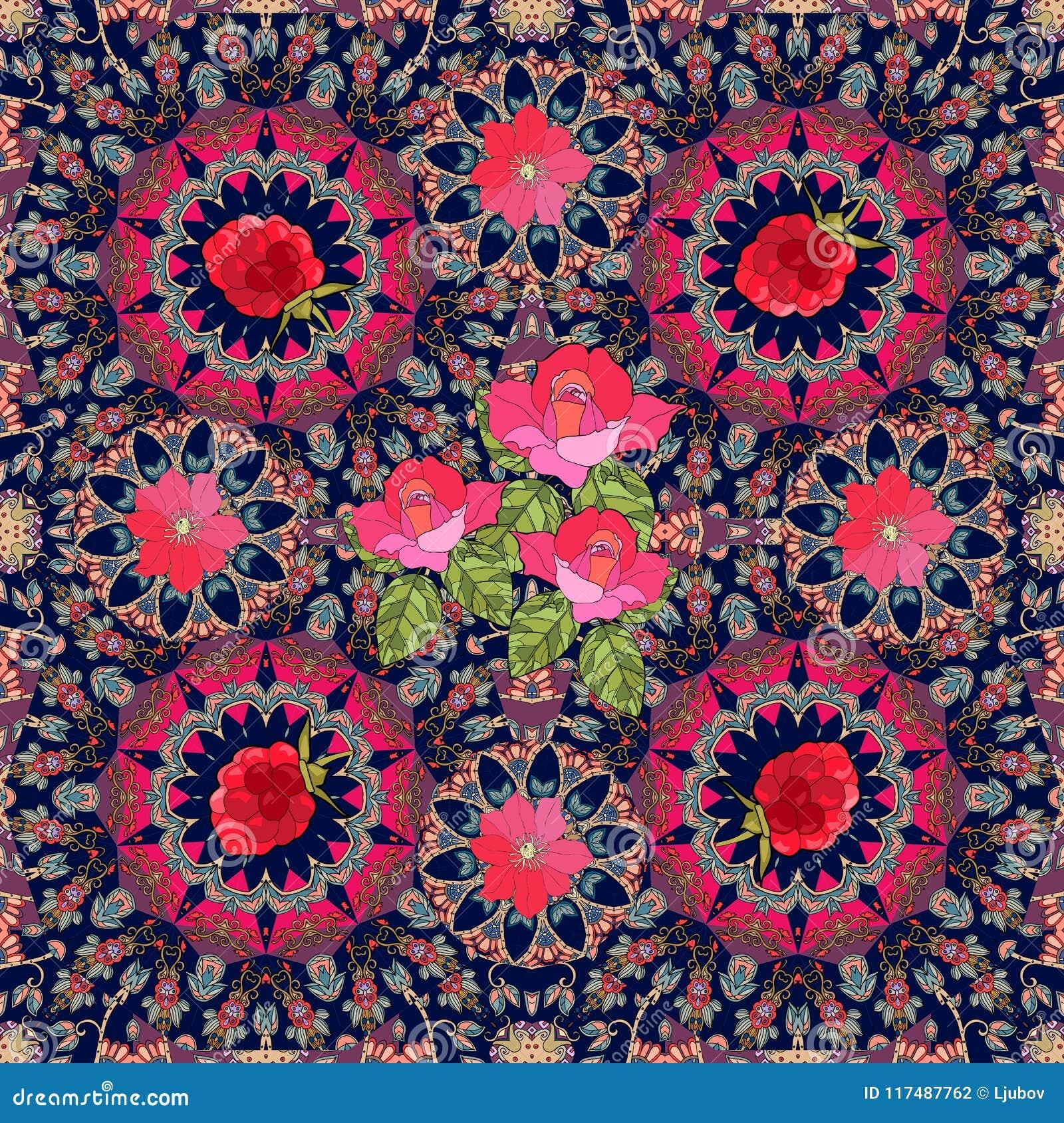Reizende Tischdecke oder festliches Halstuch mit Rosen, Klematis und Himbeeren