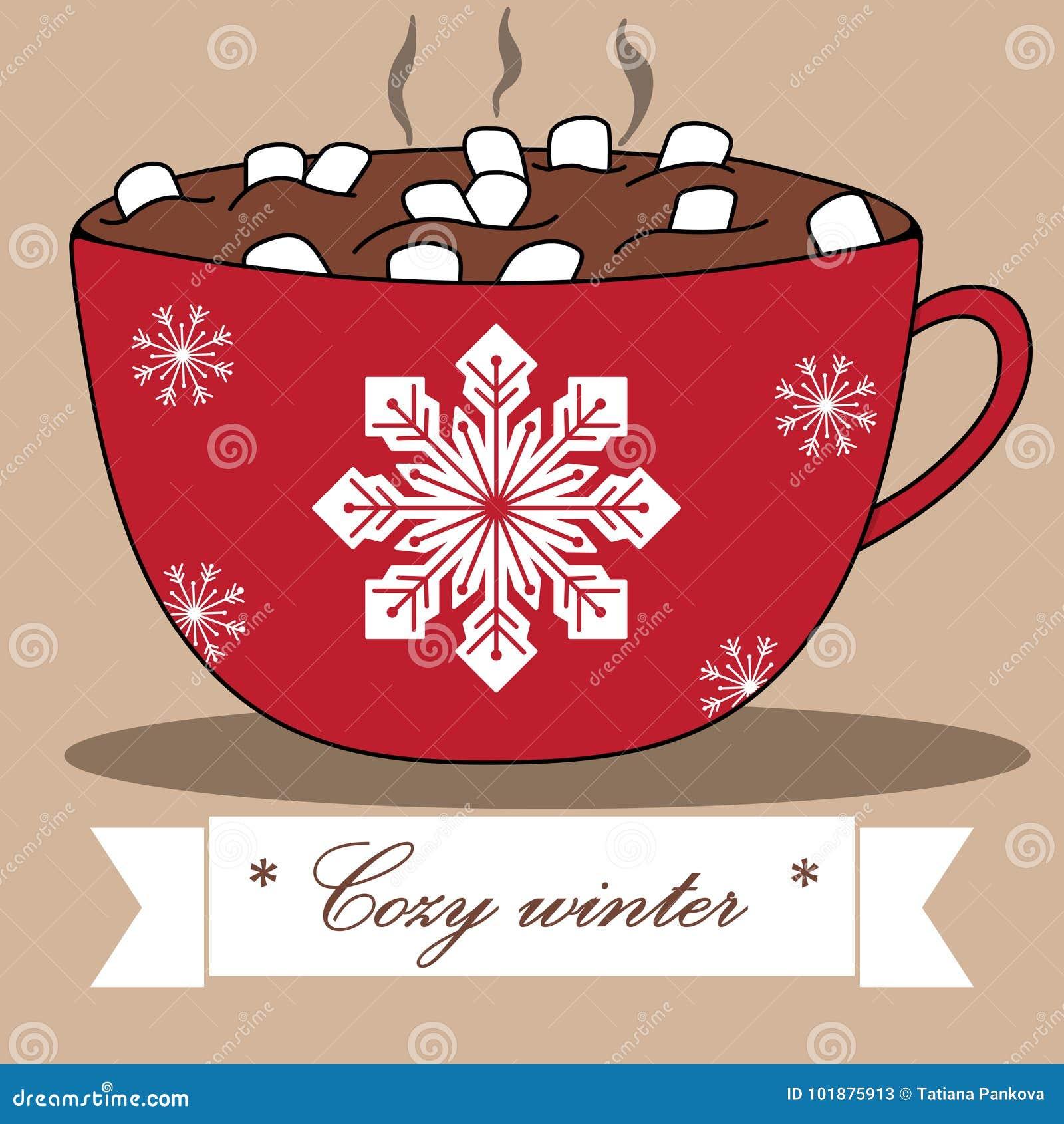 Reizende Winterkarte mit Kakao und Eibischen