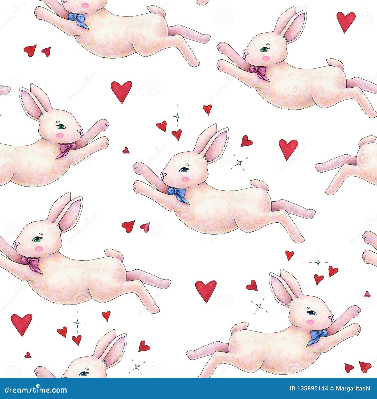 Reizender rosa Animationskaninchen-Häschenhase mit einem Bogen in der Liebe wird auf einem weißen Hintergrund lokalisiert Kinderf