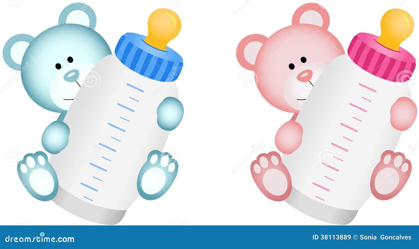 Reizendes Baby Teddy Bear Mit Baby Flasche Vektor