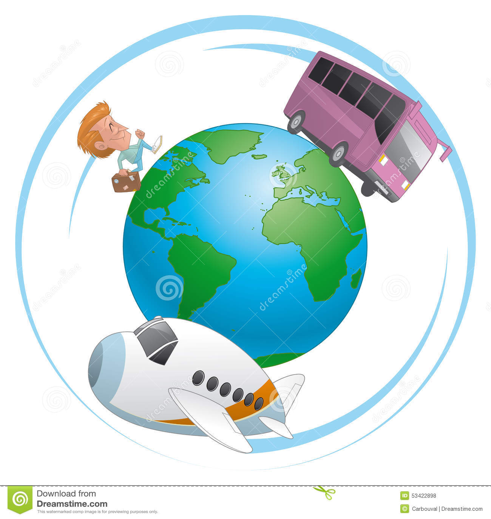 Reiziger Vliegtuig En Bus Die Rond De Wereld Reizen Stock