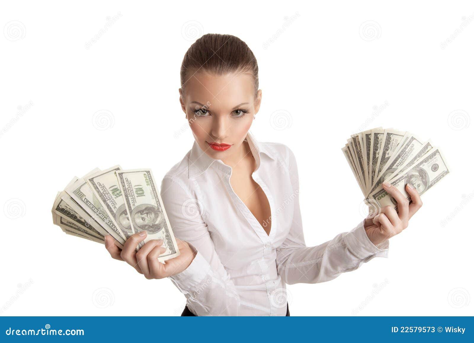 Reizvolle Geschäftsfrau nehmen ein Bündel Geld