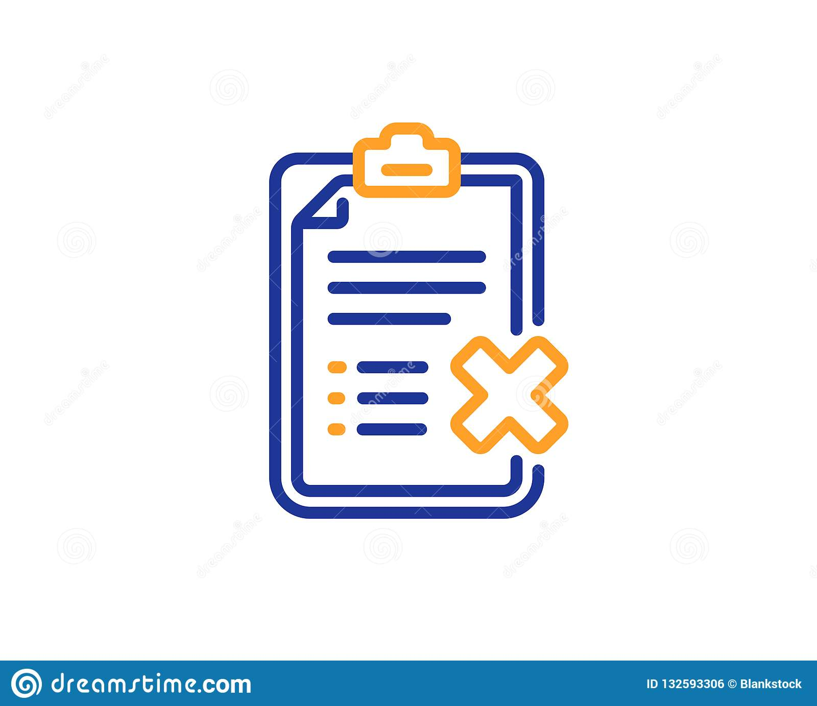 Reject checklist line icon. Decline document sign. Vector