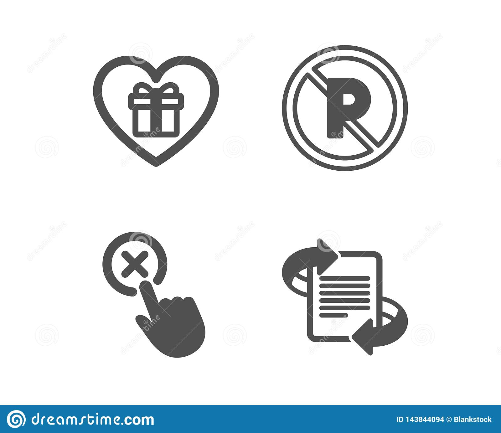 Reject Click, No Parking And Romantic Gift Icons  Marketing