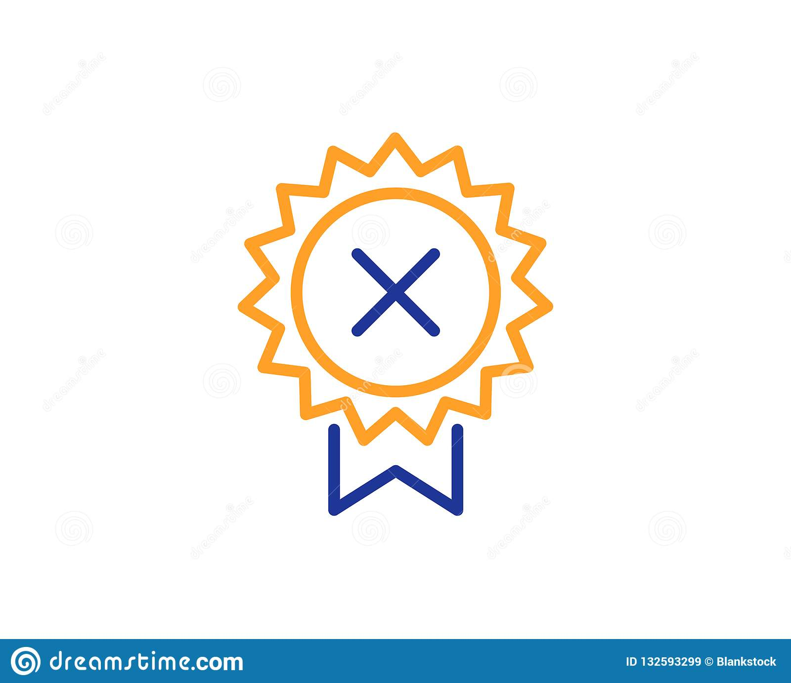 Reject medal line icon. Decline award sign. Vector