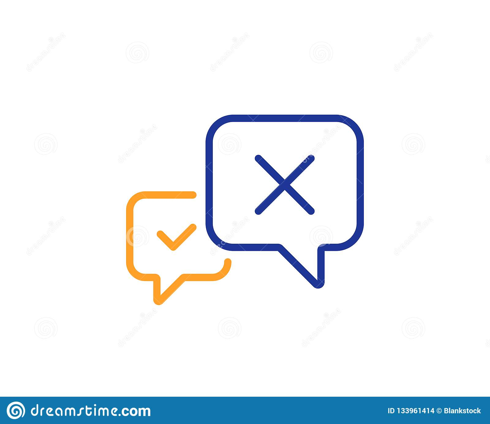 Reject message line icon. Decline chat sign. Vector