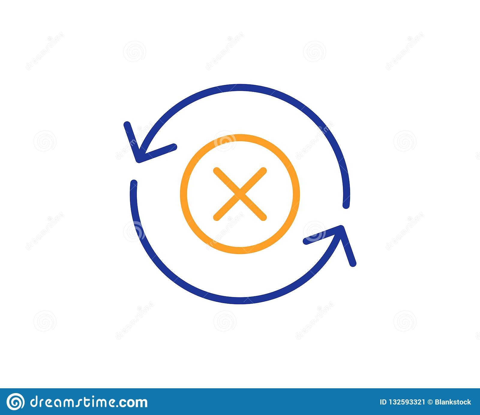 Reject refresh line icon. Decline update sign. Vector