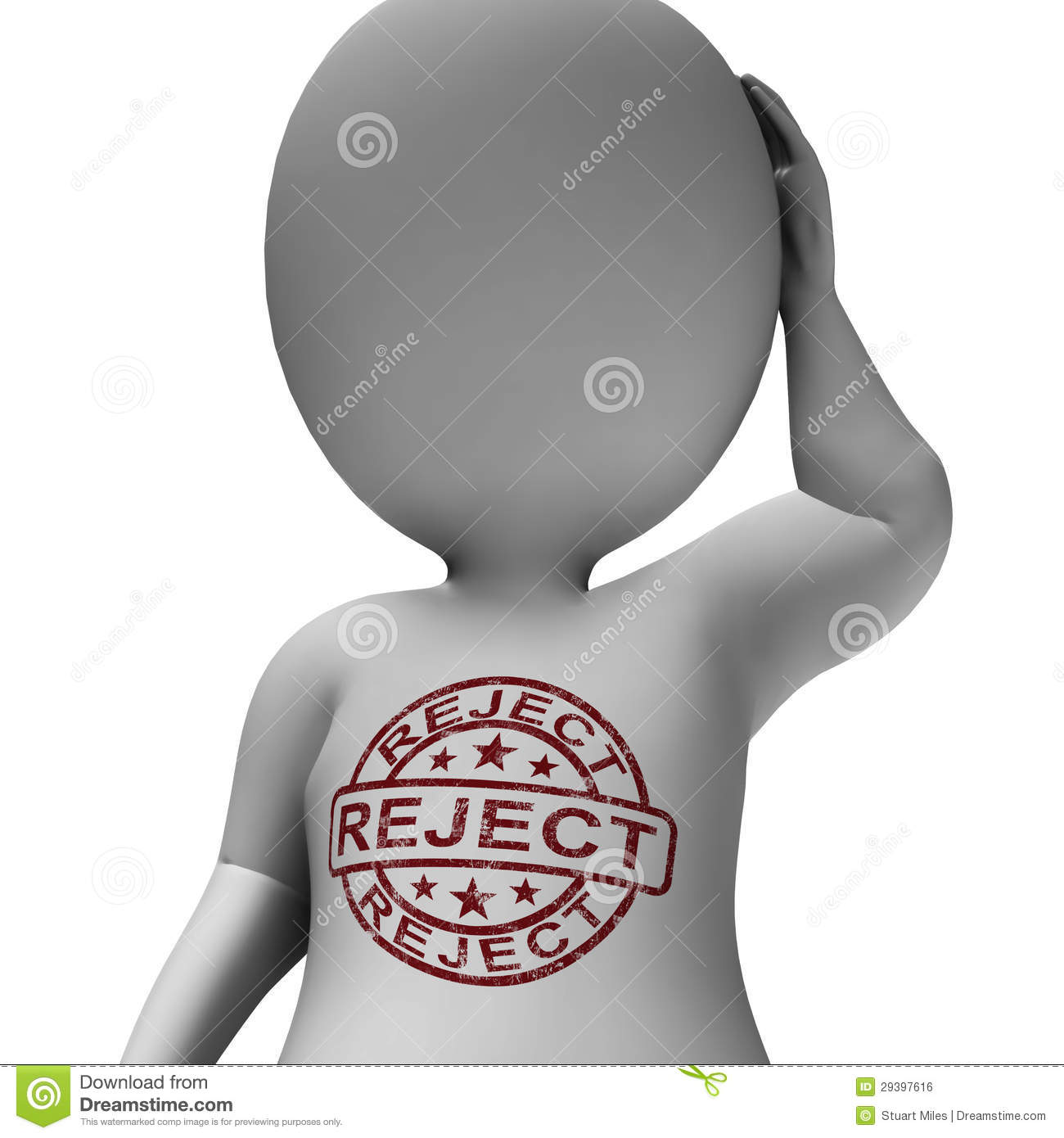 reject stamp on man shows rejection or failed royalty free
