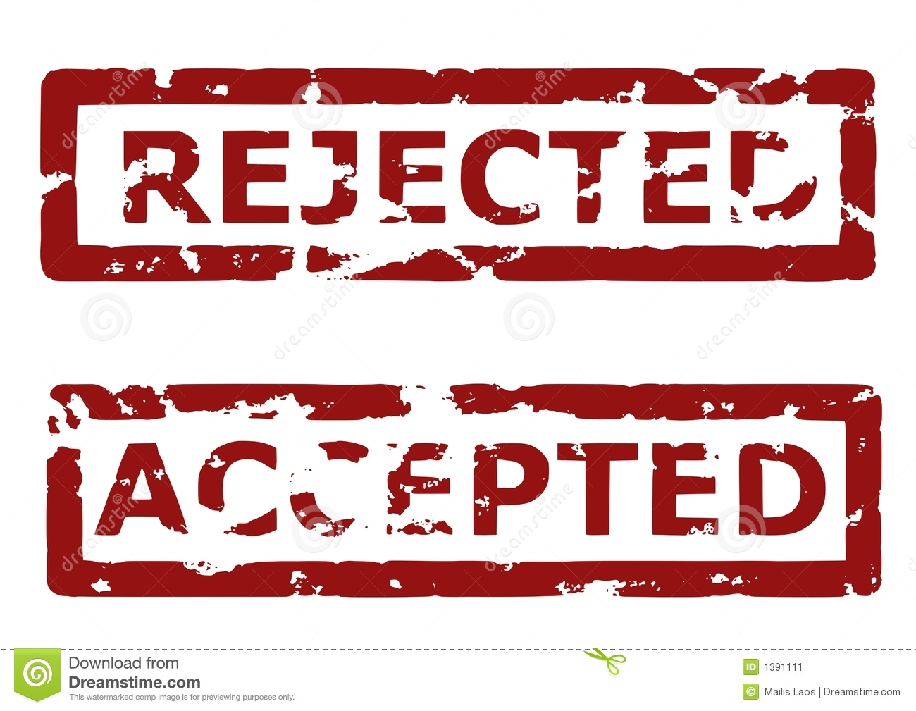 Rejected And Accepted Rubber Stamps Stock Vector